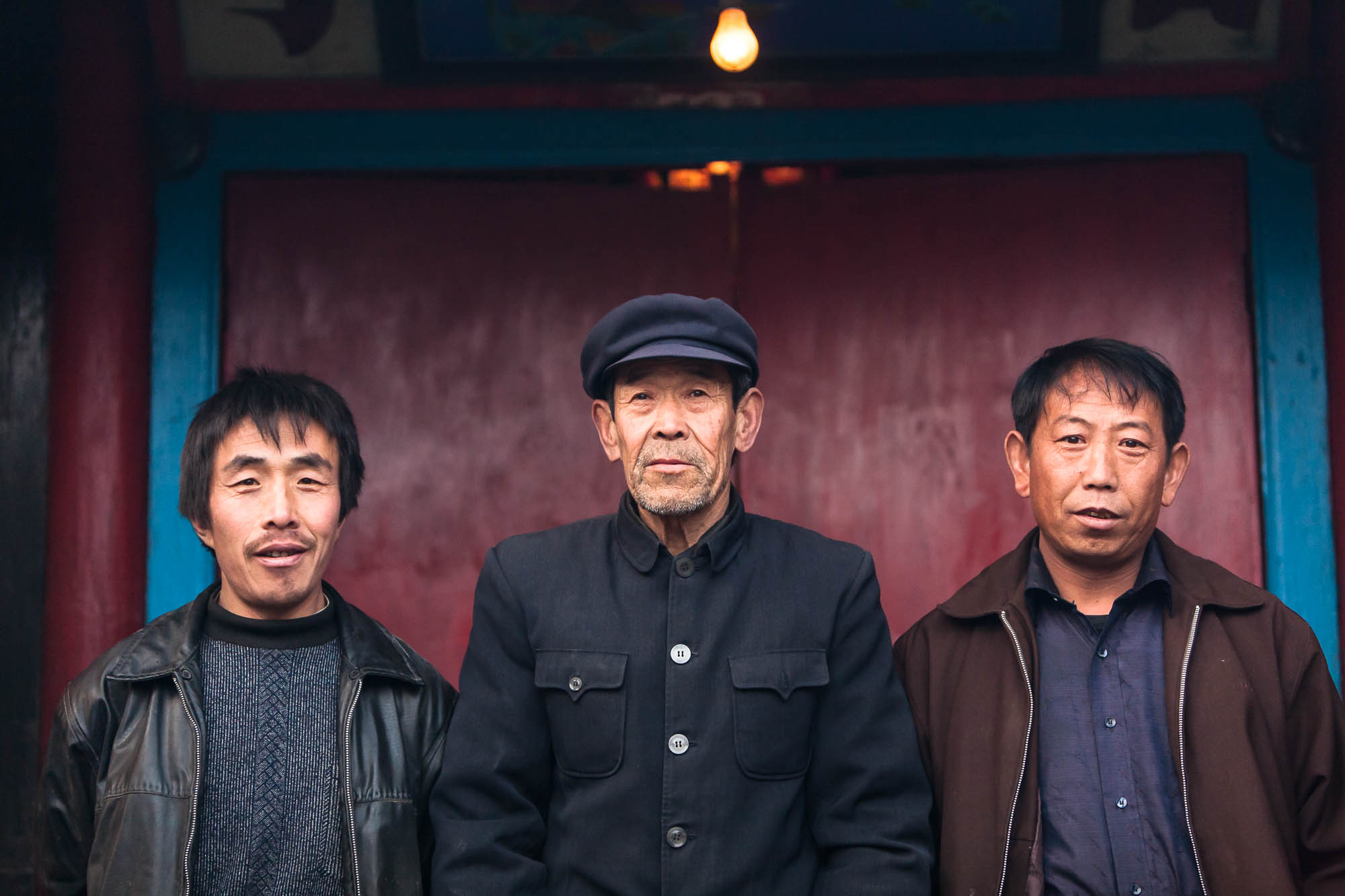 Villagers in front of their temple.