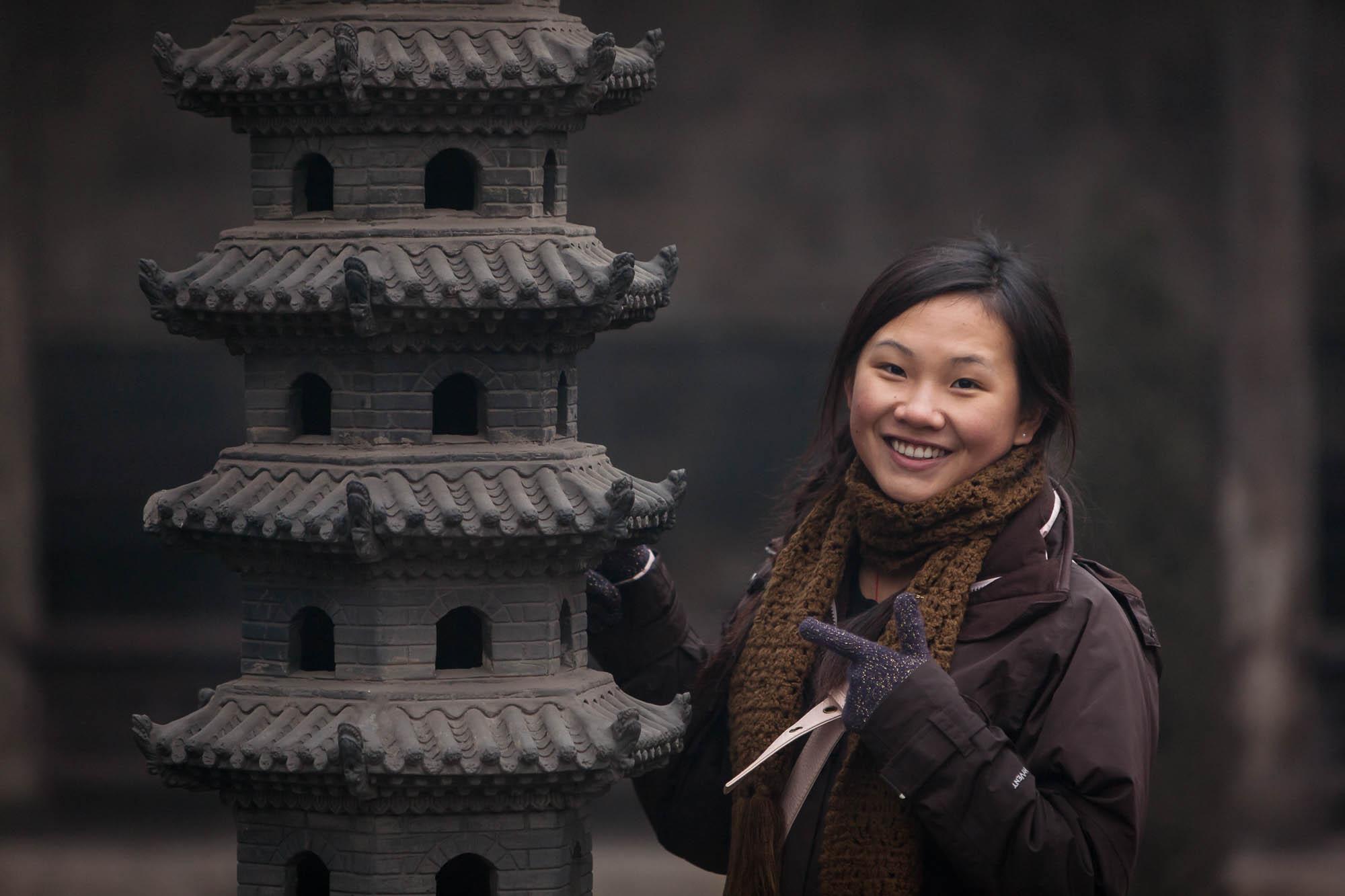 Juli in a temple