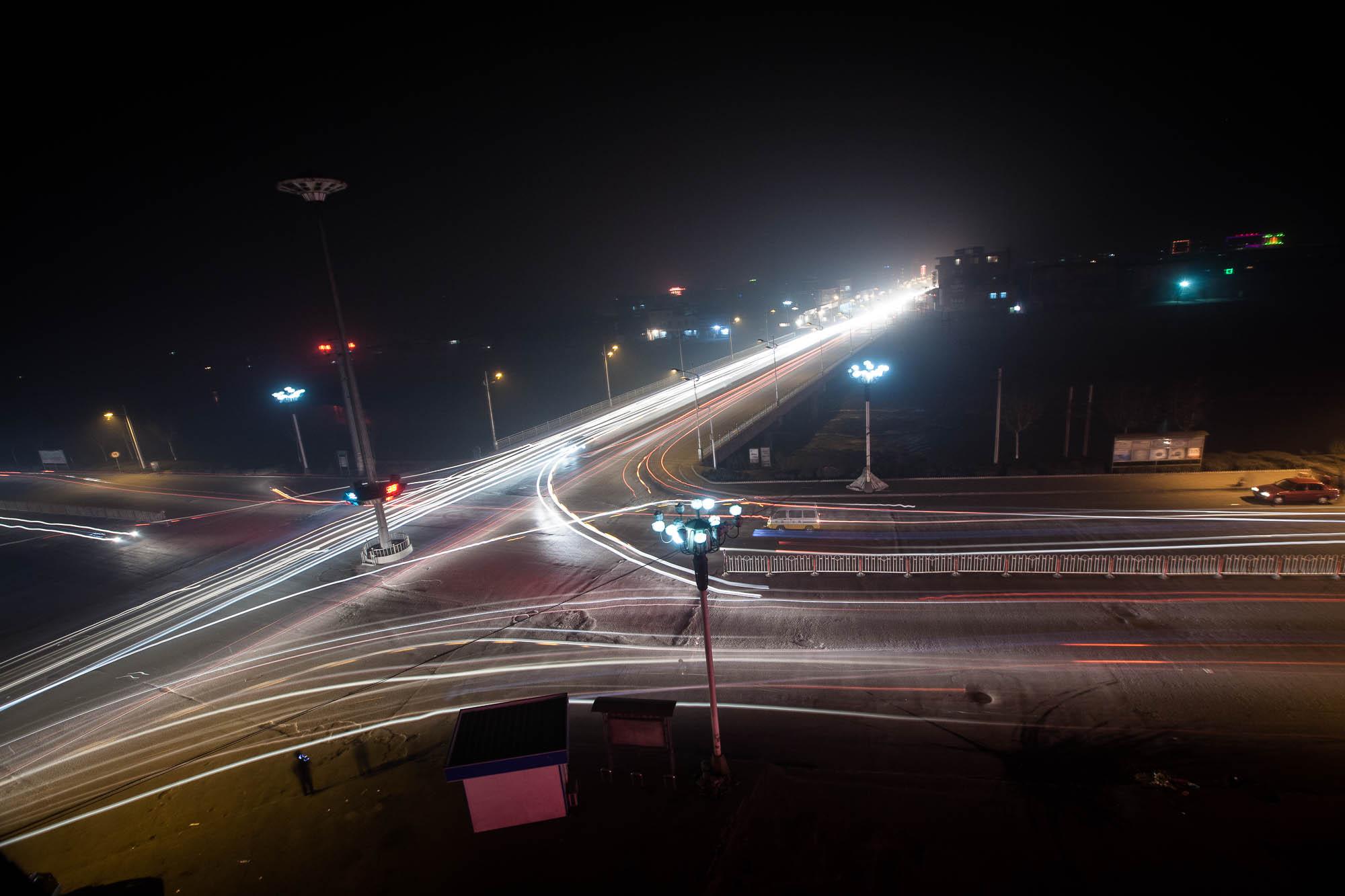 night traffic in Huozhou
