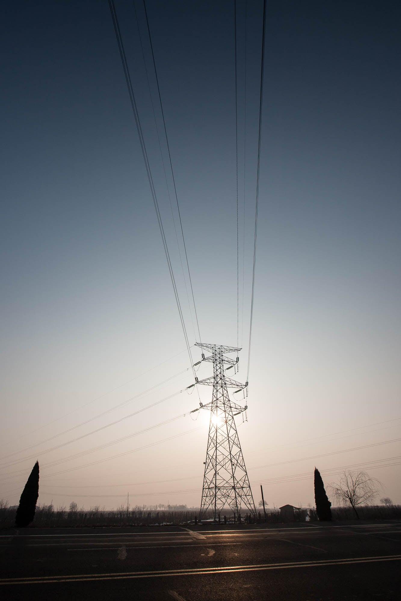 power lines backlight