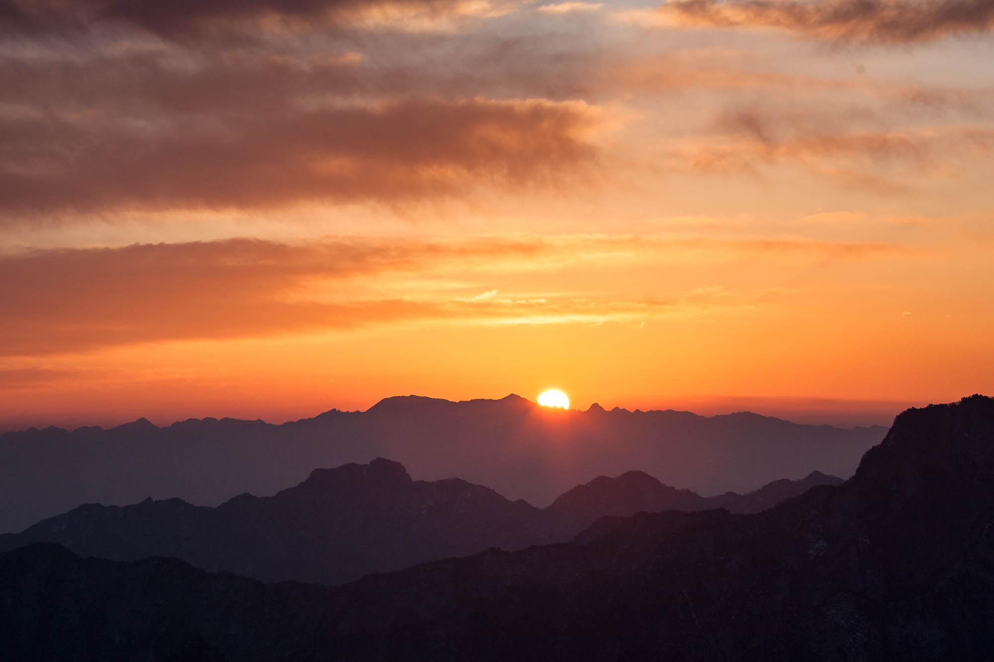 sun rising over Huashan