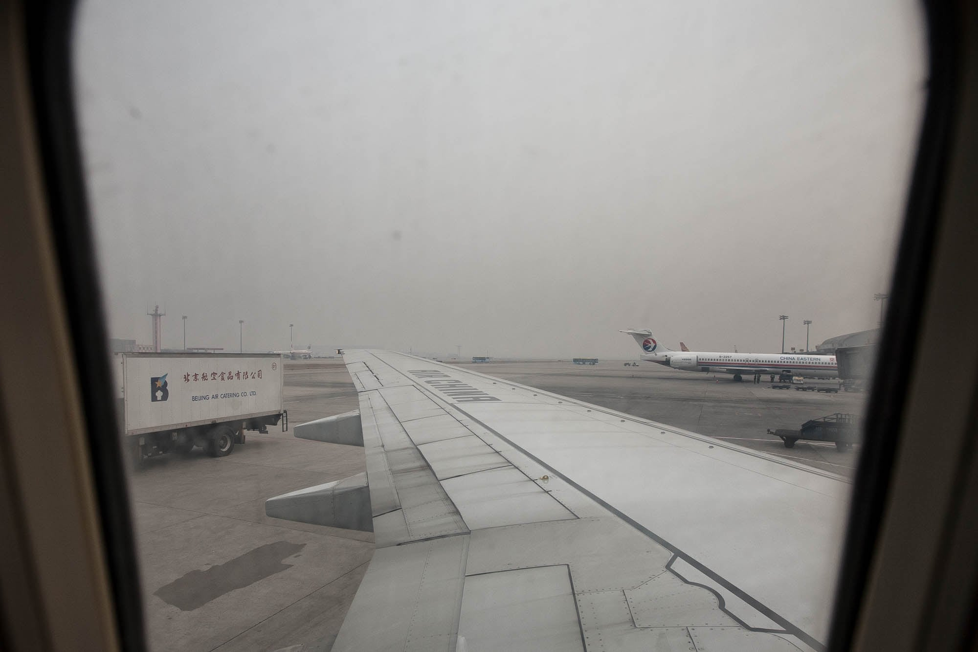 airplane window in Beijing