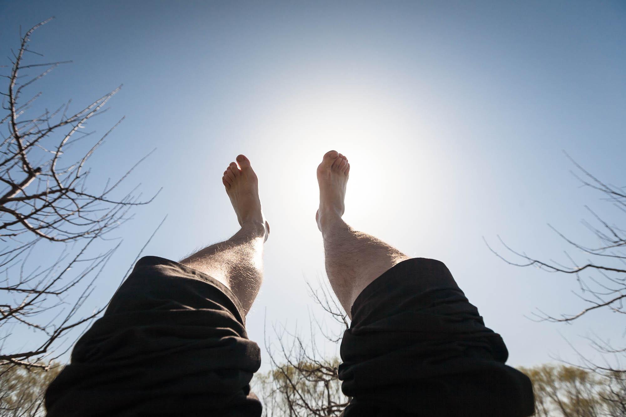 feet in the sun