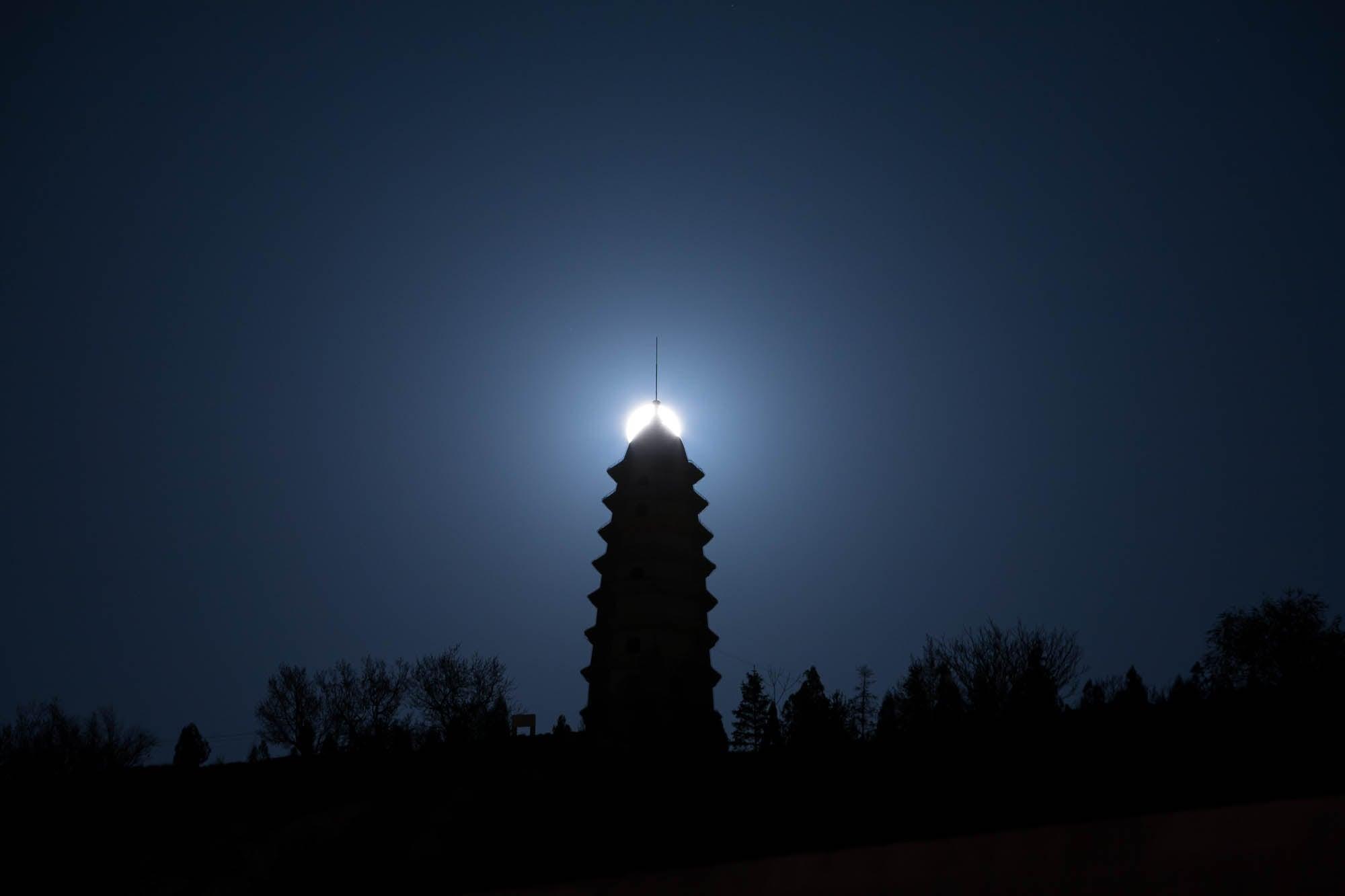 moon and pagoda