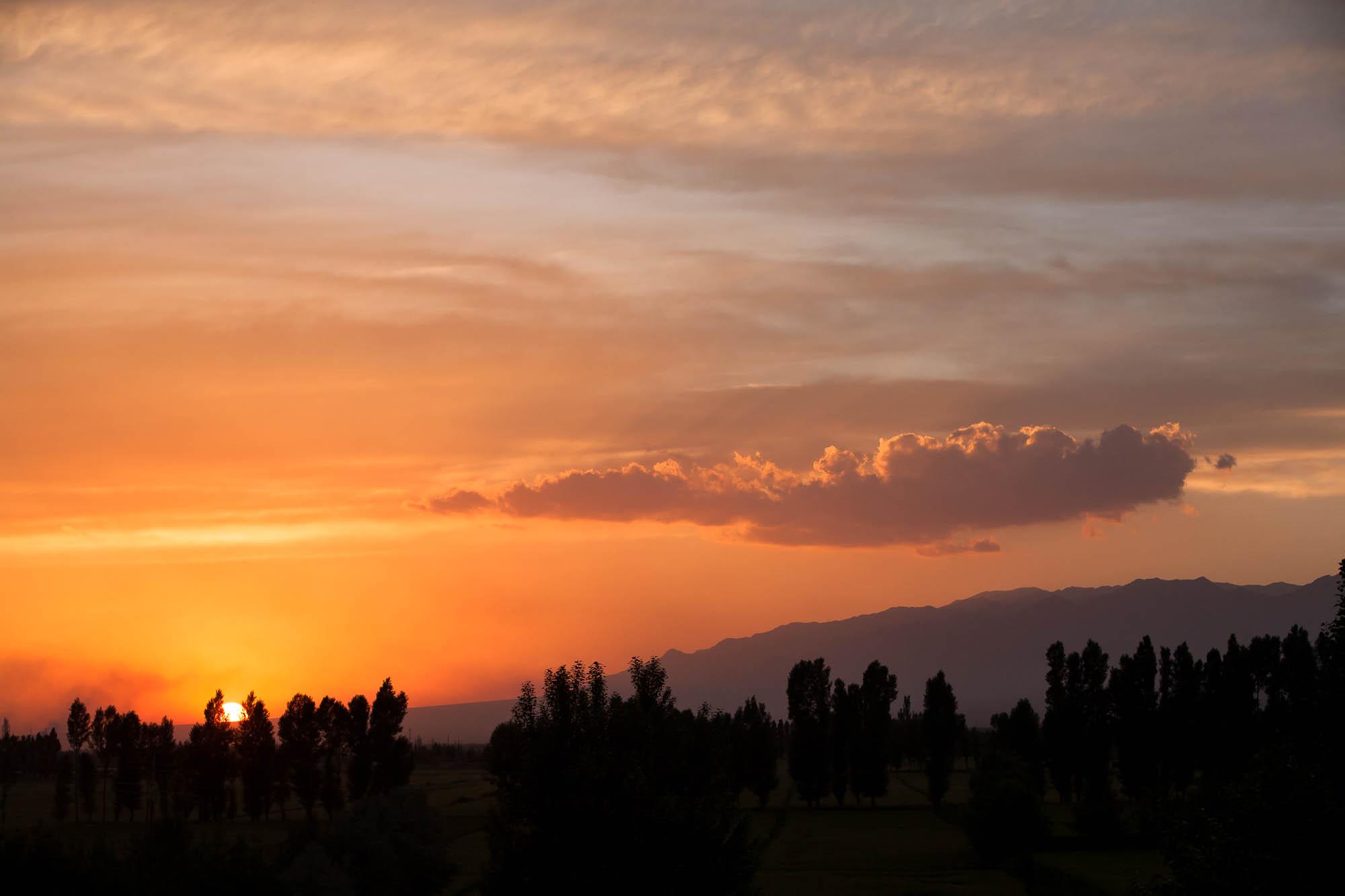 Sonnenuntergang bei Shandan