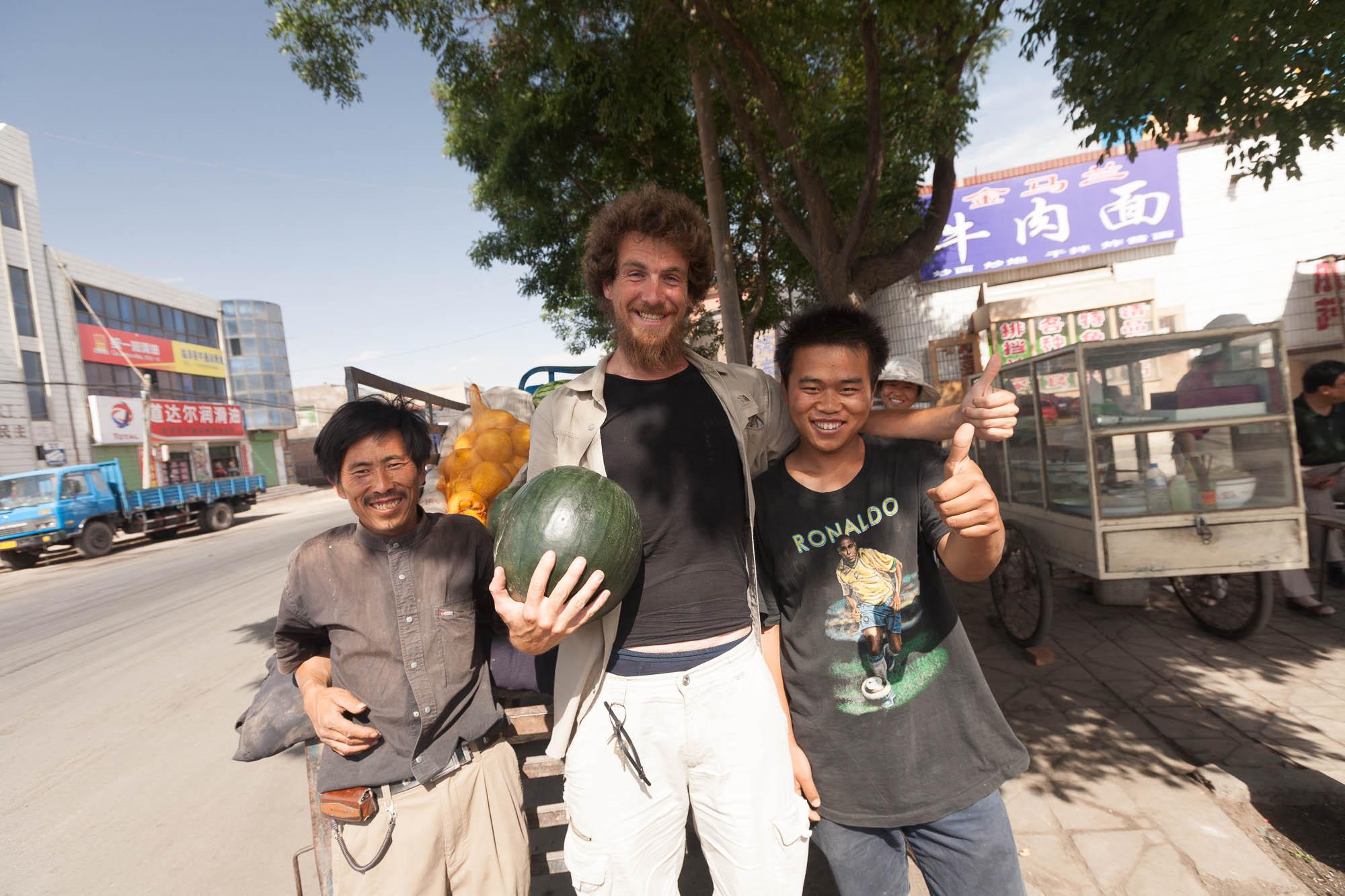 Liu Peng gave me a nice seedless watermelon
