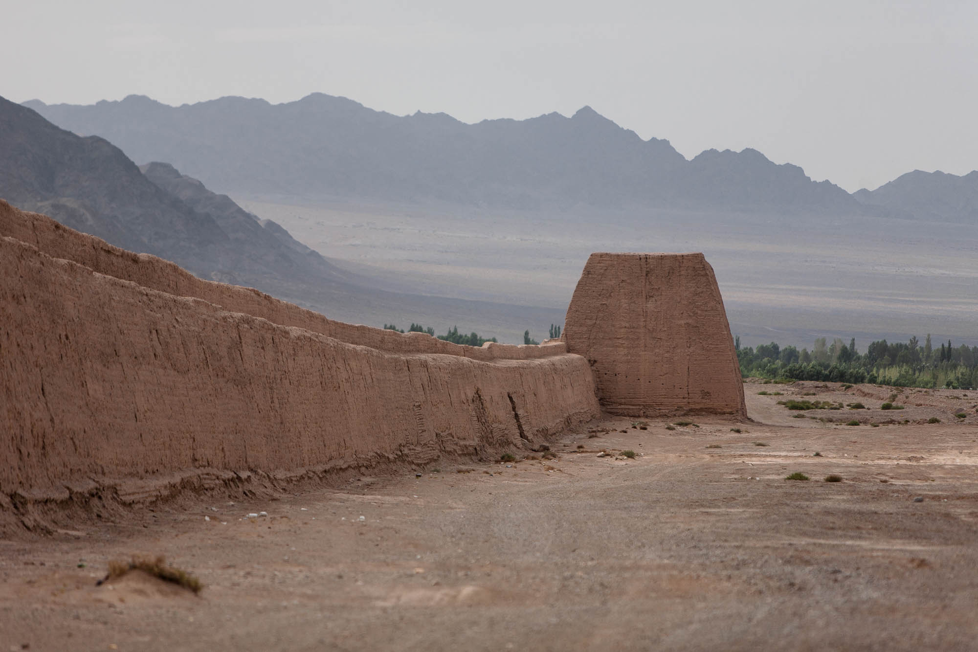 Great Wall with mountains