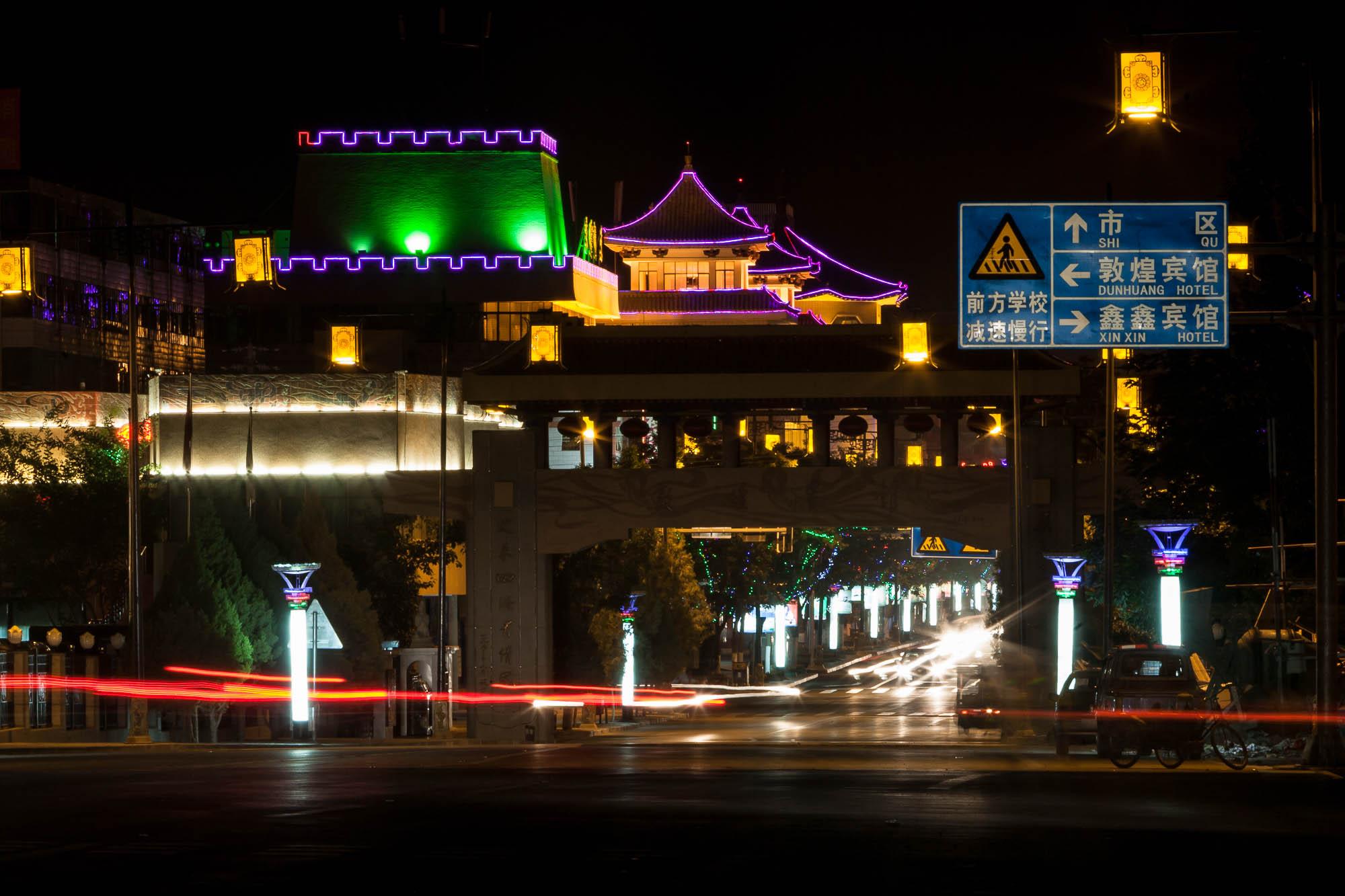Dunhuang at night
