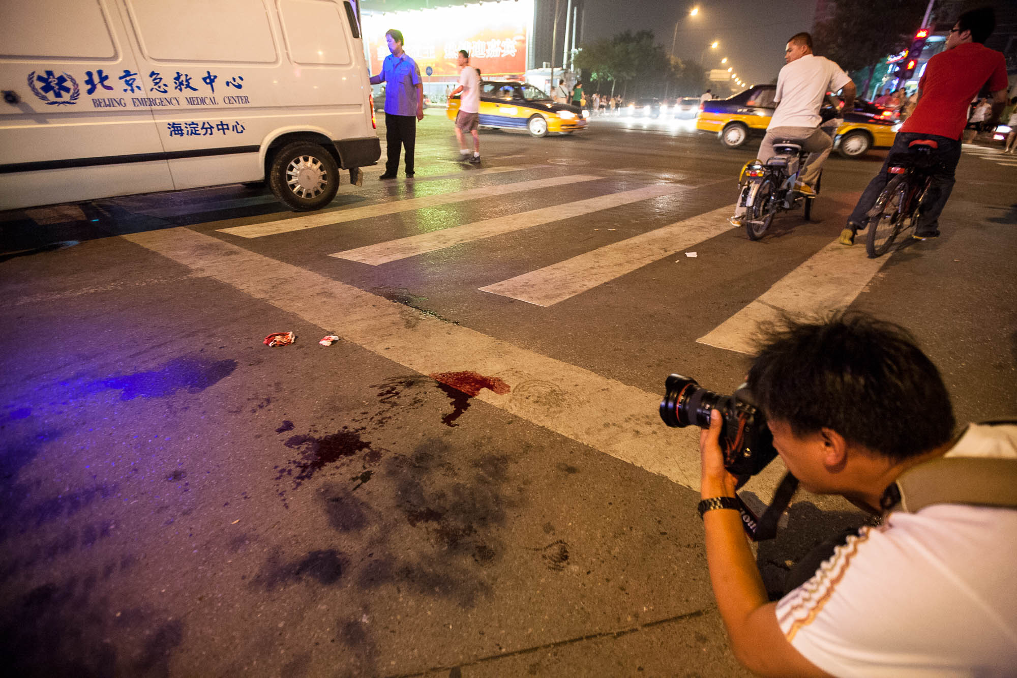 photographing the blood