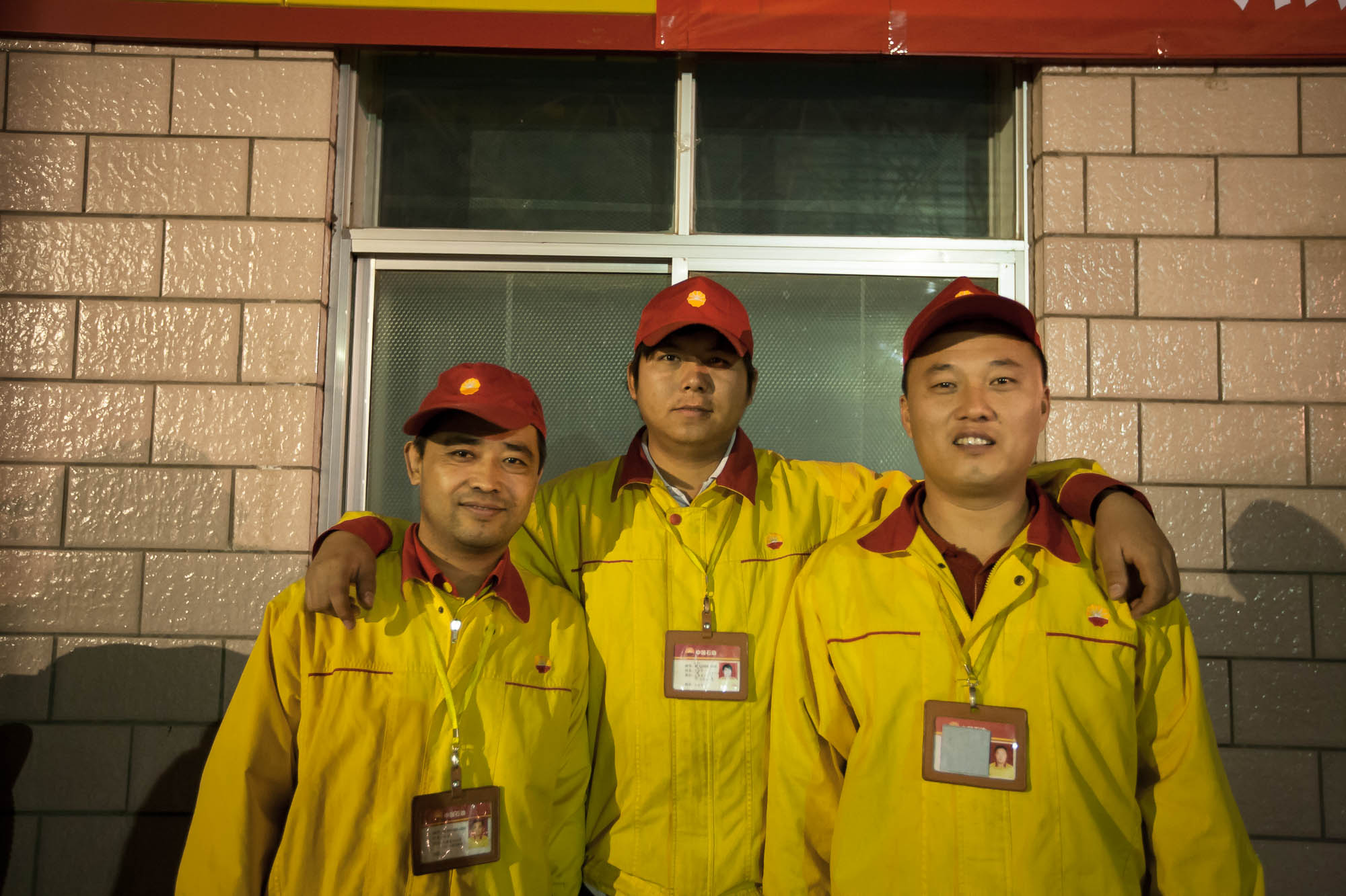 These guys from the gas station at Turpan let me use their restroom when it was really urgent
