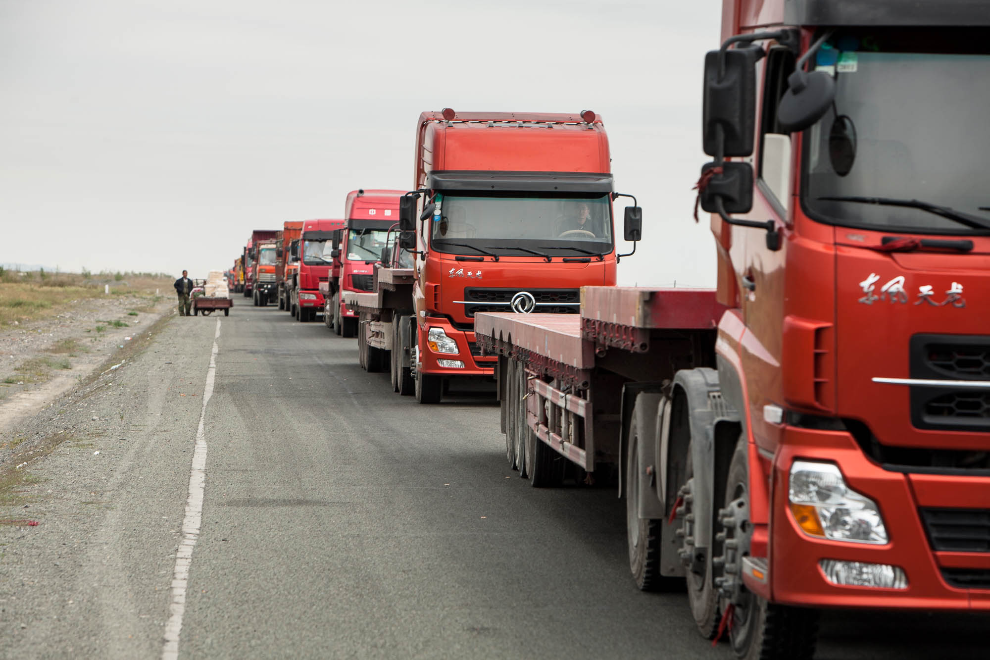 trucks in a traffic jam