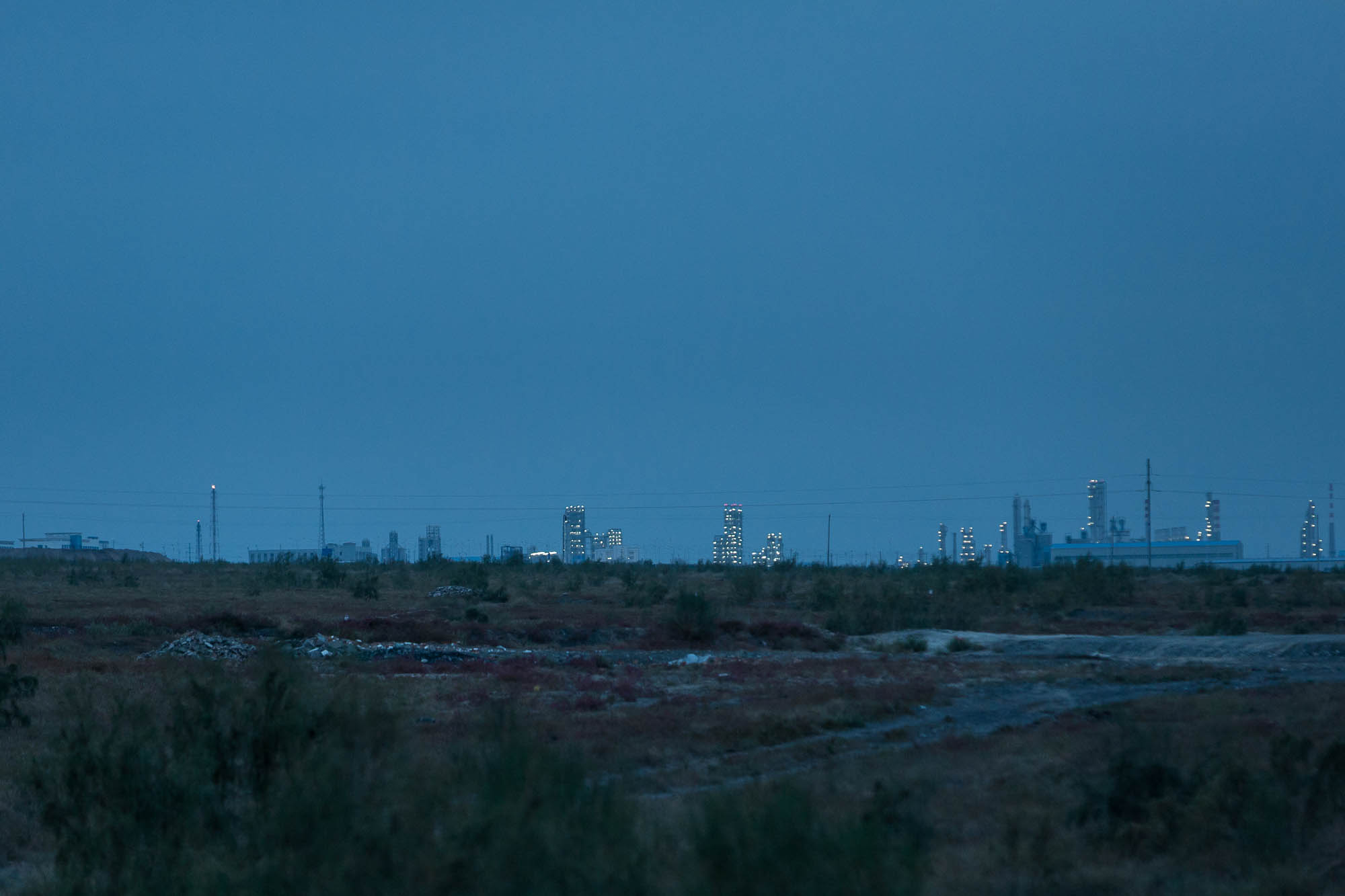 oil refineries in the distance