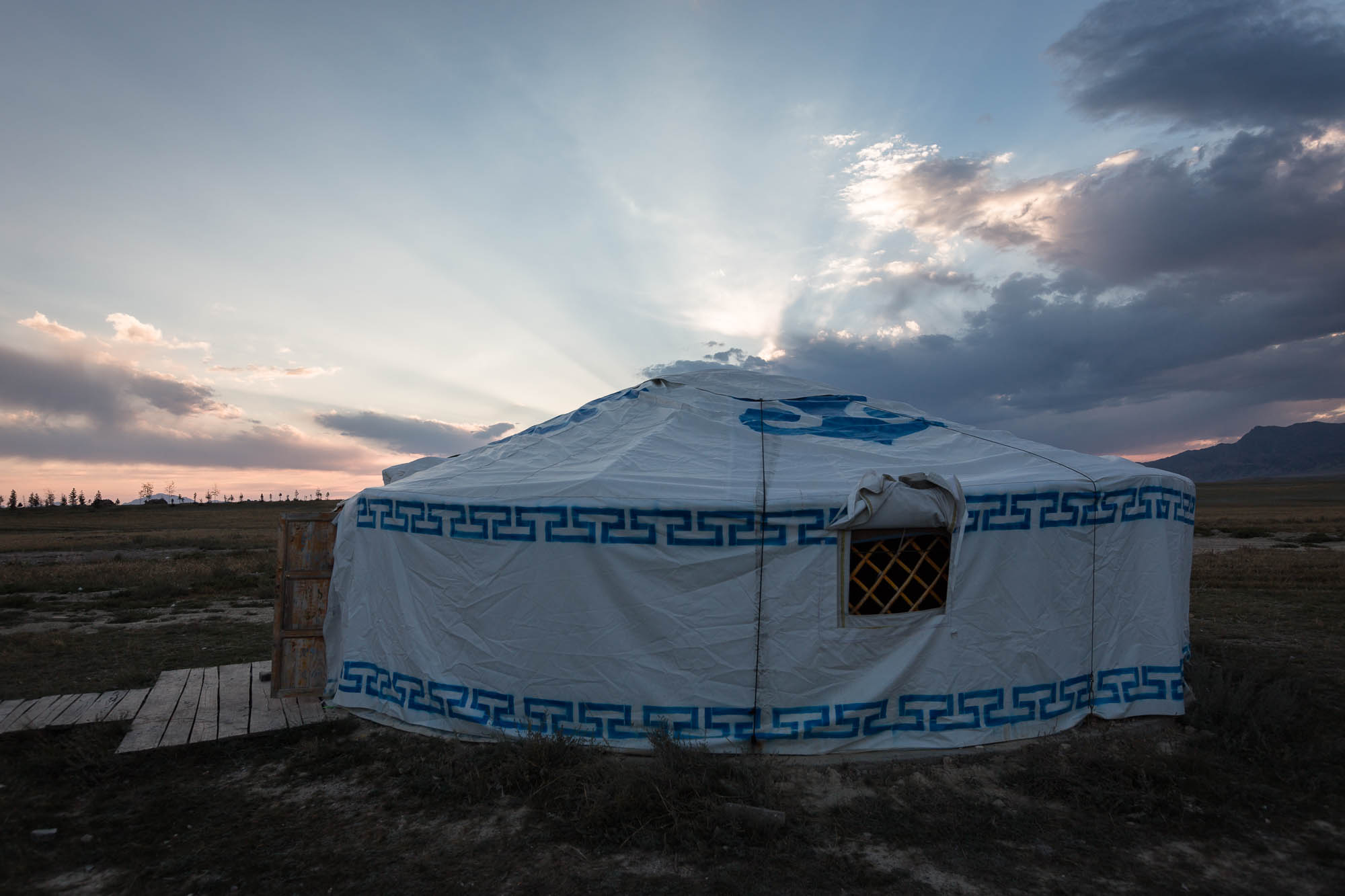 sunset and yurt