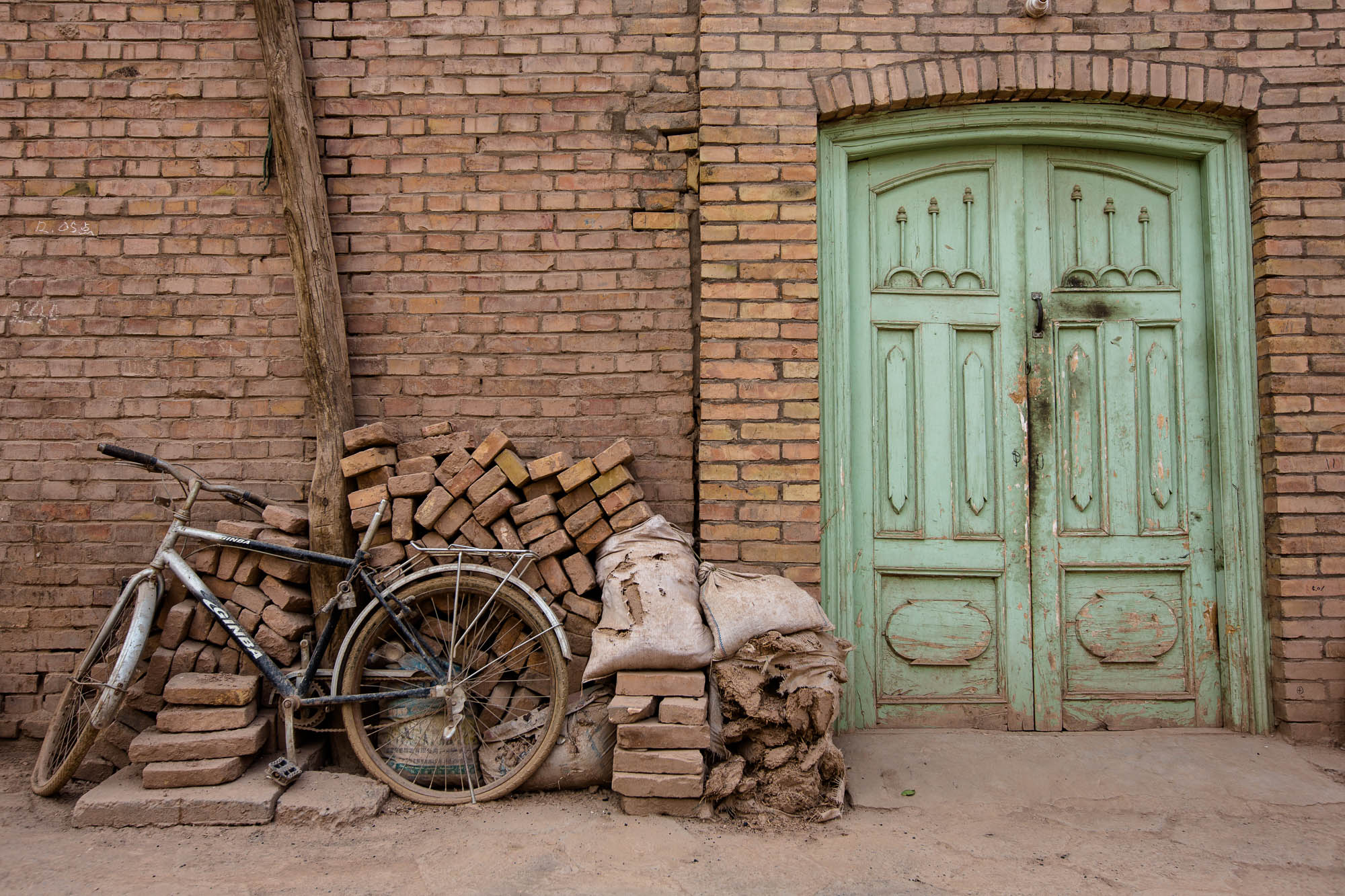 door and bicycle
