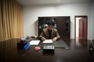 Mr. Zhou let me spend a night in the office of his stone pit on April 8th, 2008