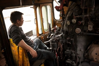 The guys from the 8195 coal train in Sandaoling let me ride along on October 2nd, 2008