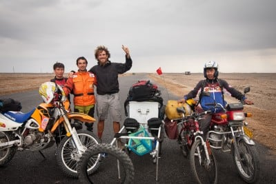 These Uyghur motocross dudes stopped in the middle of the desert for a chat and a picture on October 3rd, 2008