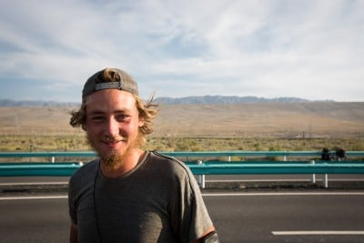 Erik from Sweden stopped for a chat on a desert road on August 13th, 2012