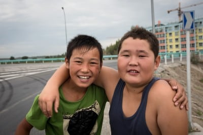 These two Kazakh kids delighted me with a friendly chat on August 14th, 2012