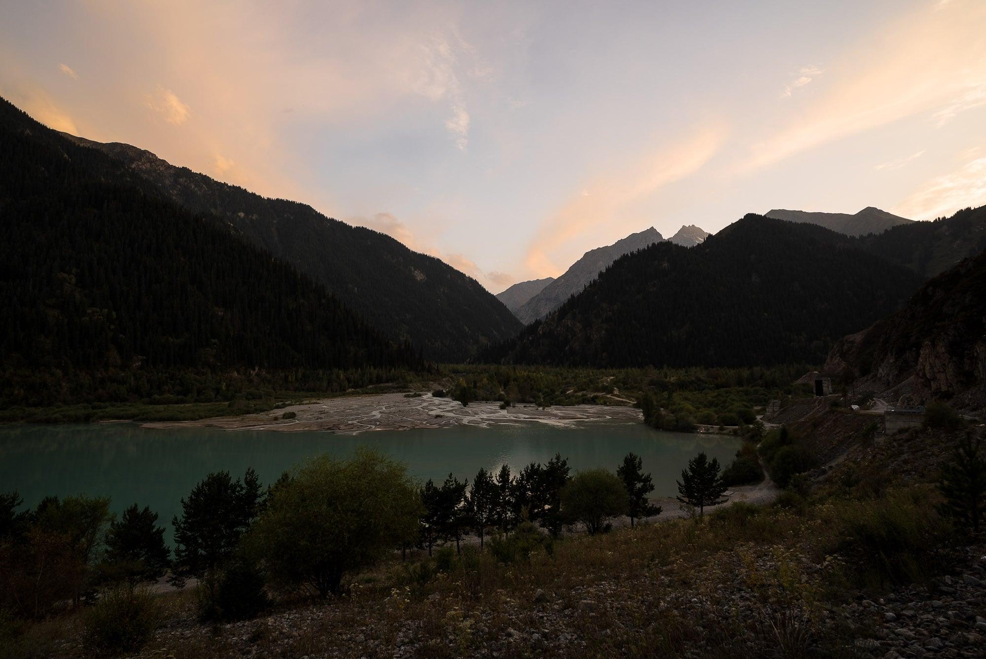 dusk over Lake Issyk