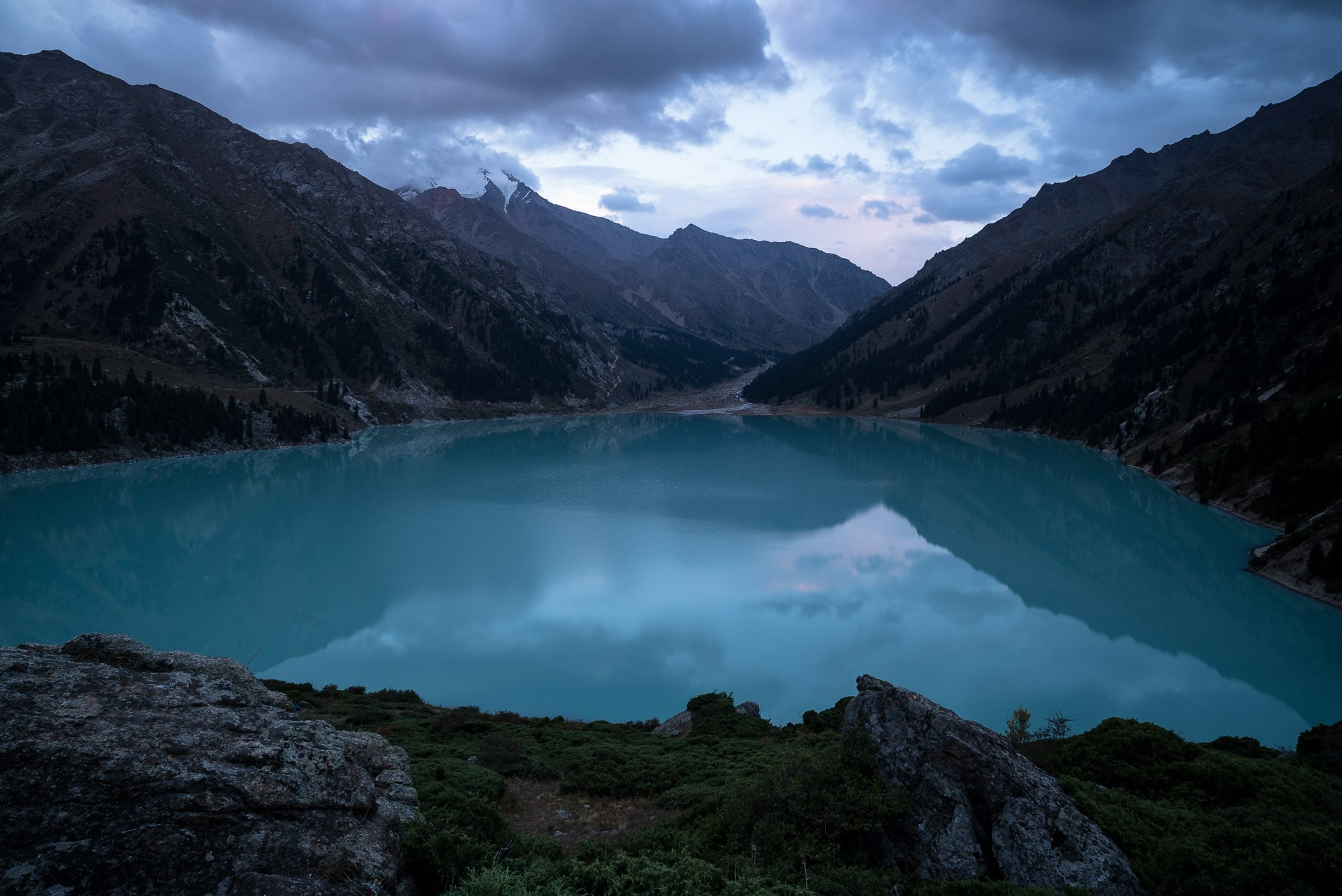 evening light over Big Almaty Lake
