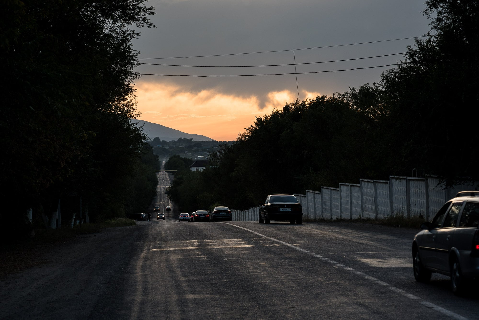 dusk on the road