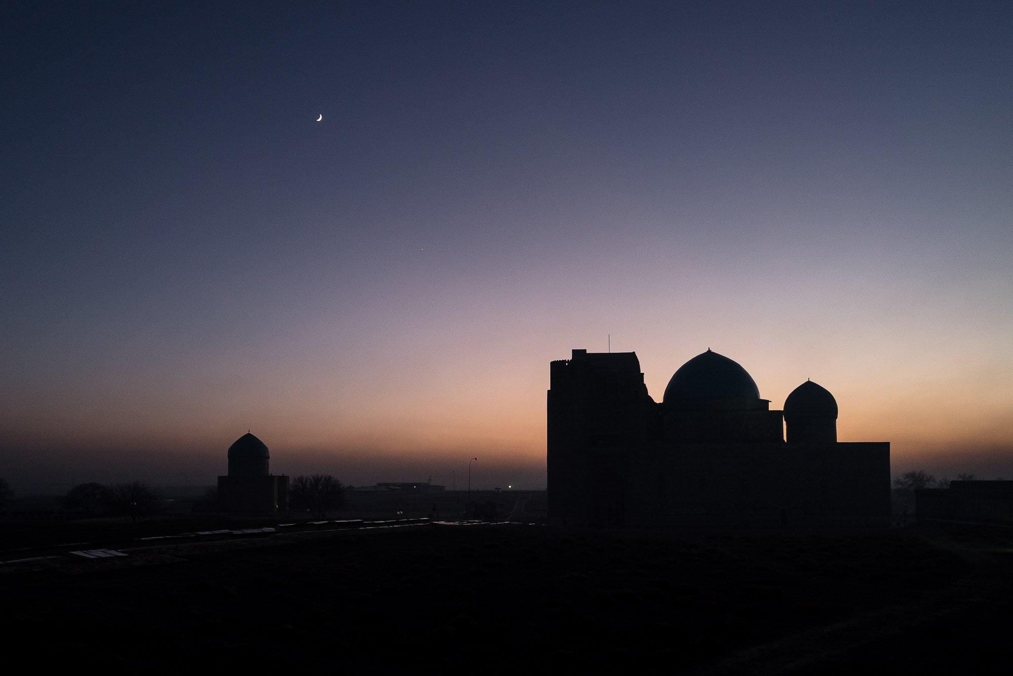 sunset and mausoleum
