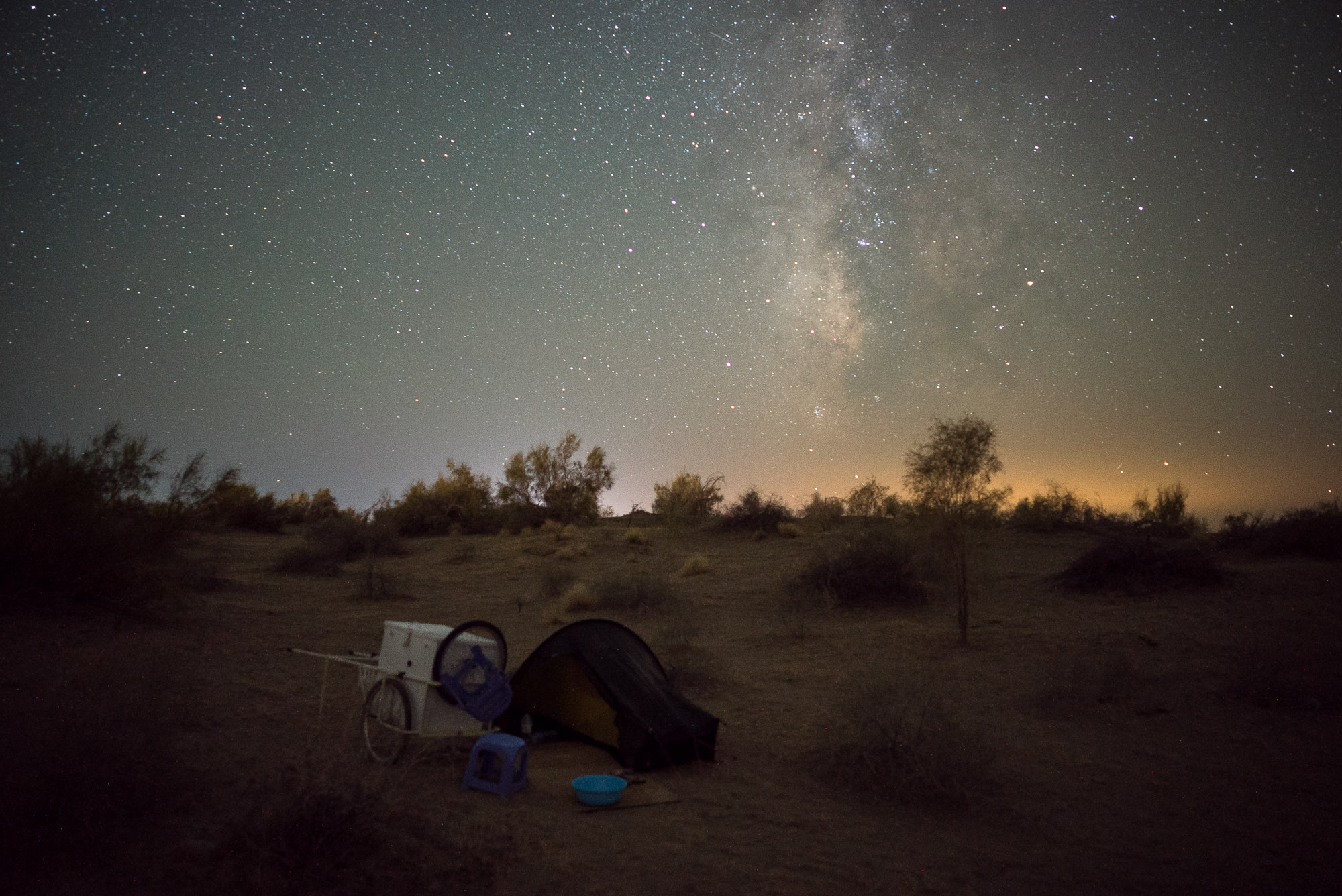 tent with milky way