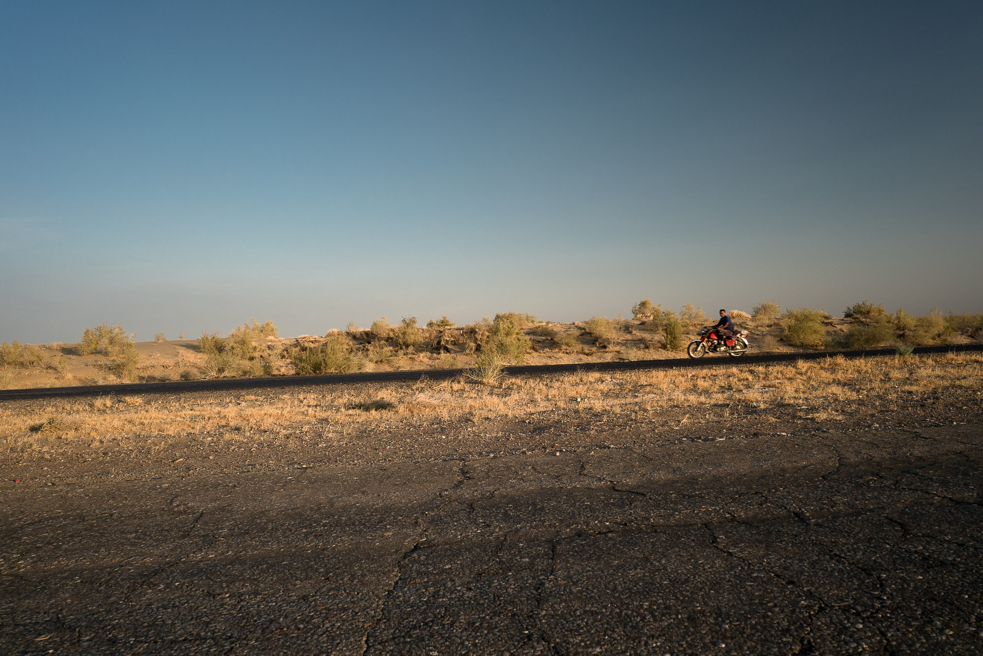 motorcycle on a desert road