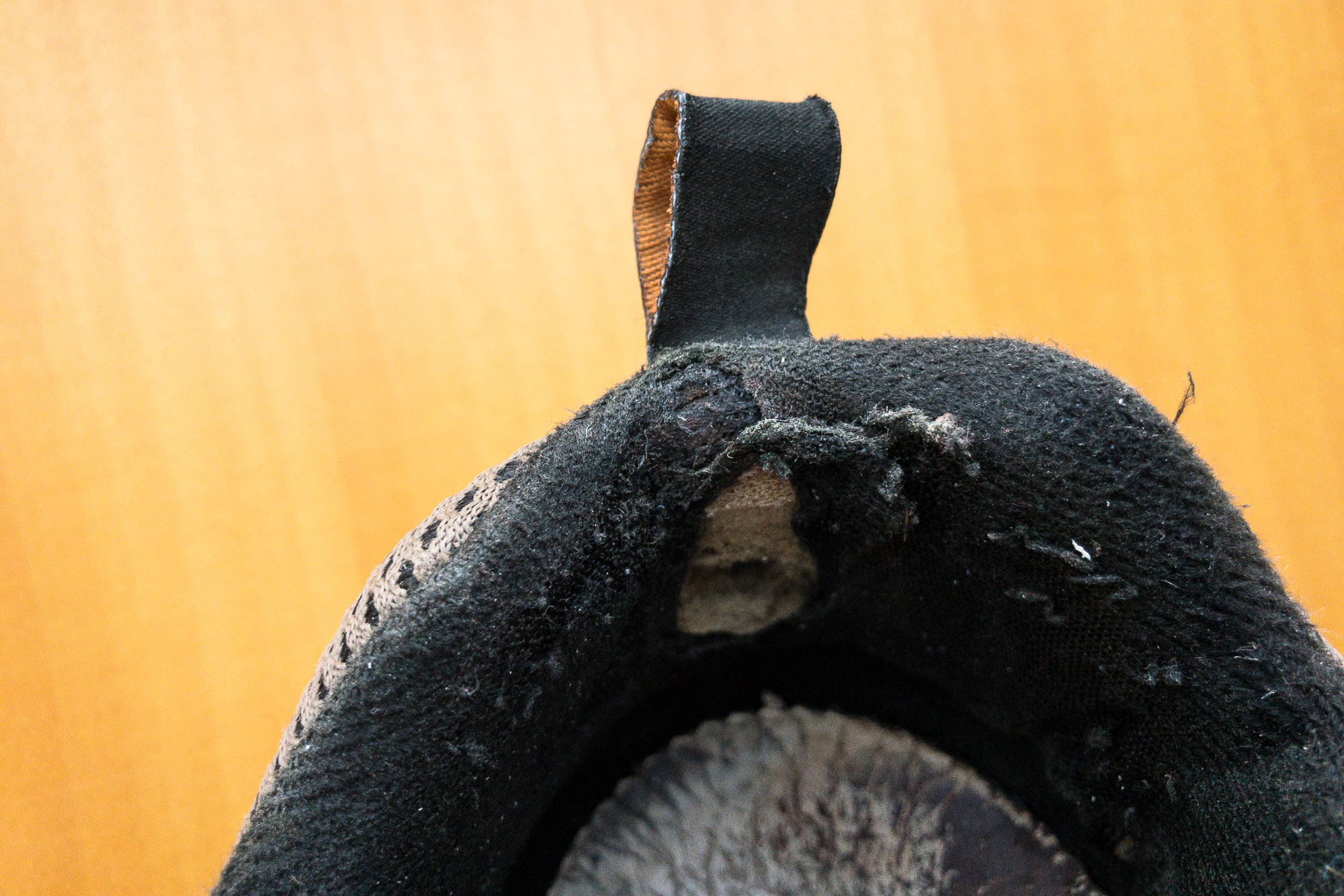shoe damaged at the heel