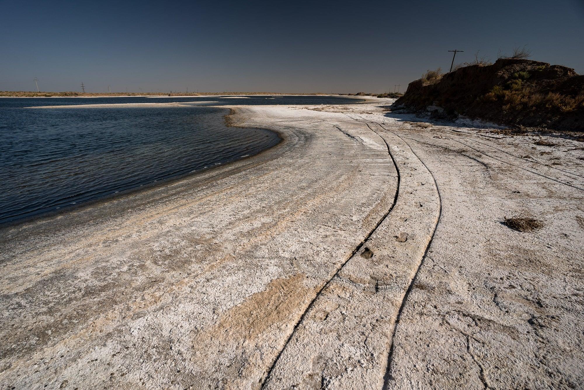 Caboose tracks next to the salt lake