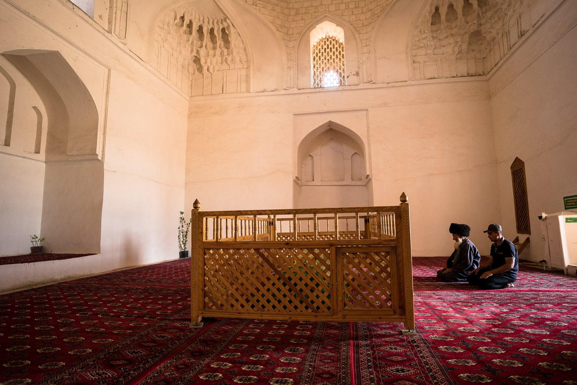 praying inside the mausoleum
