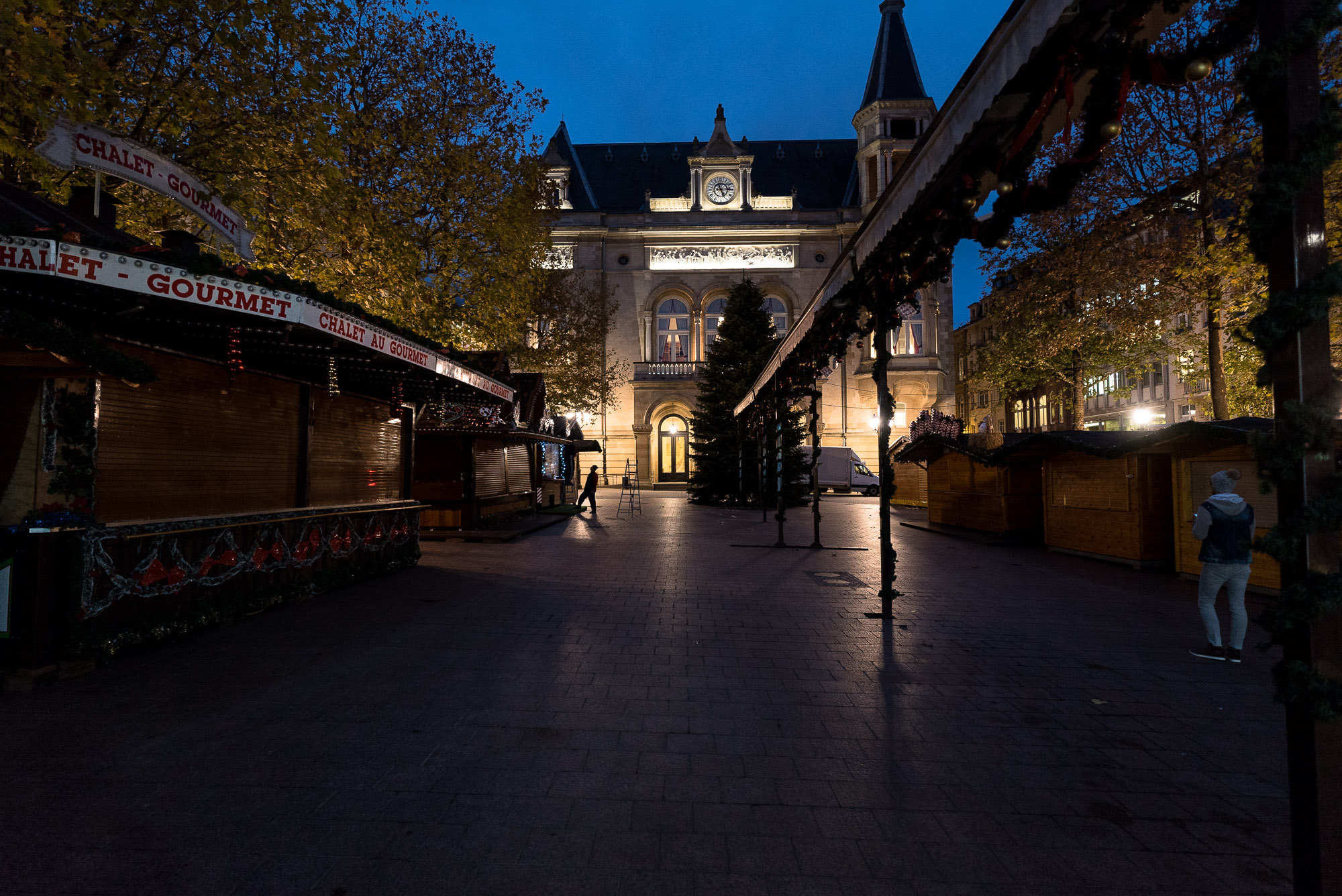 empty Christmas Market in Luxembourg