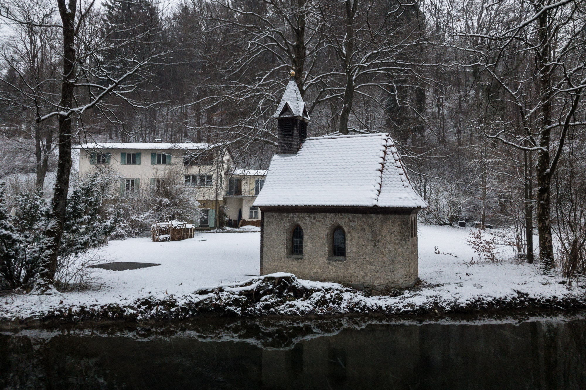 chapel in the snow in Immenstadt