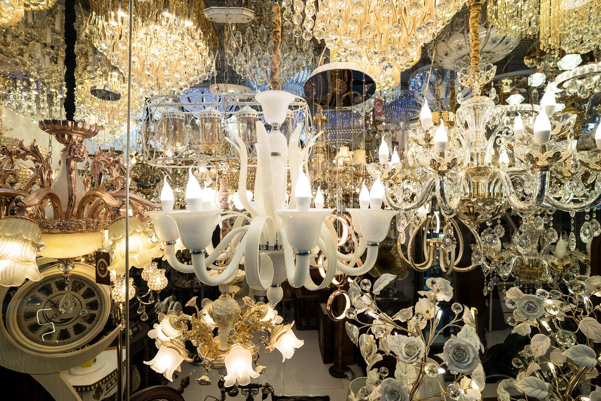 abundance of chandeliers