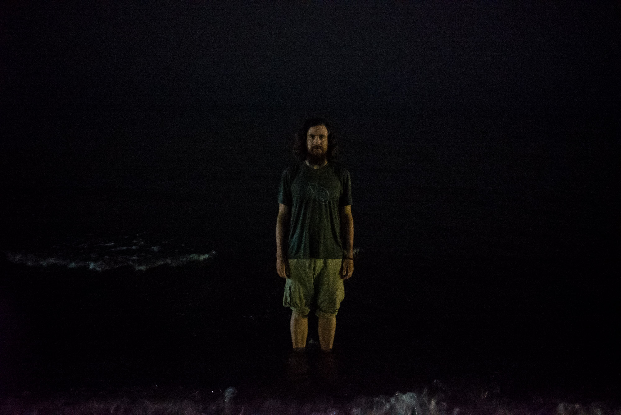 in the Caspian Sea at night