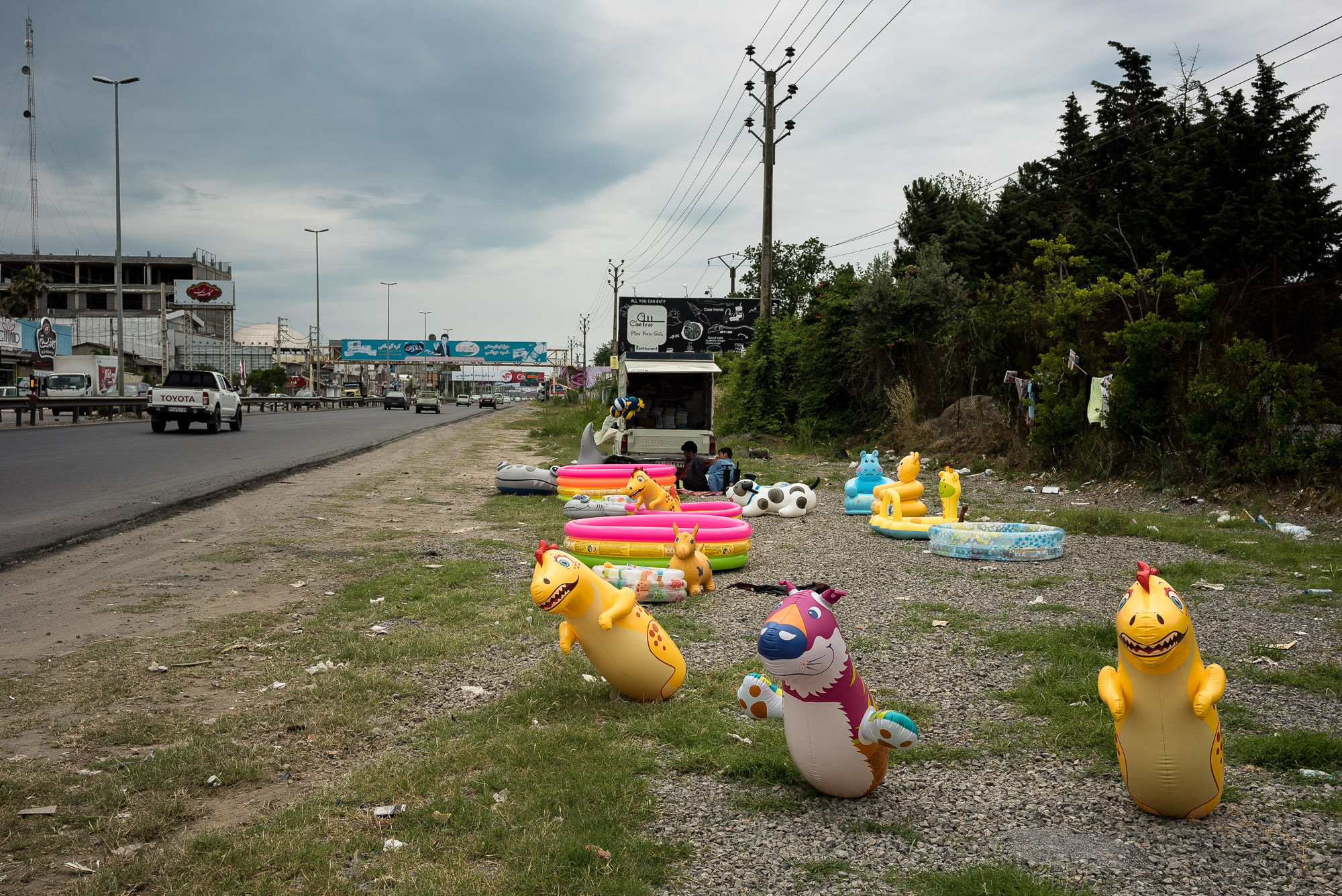inflatable toys near the road