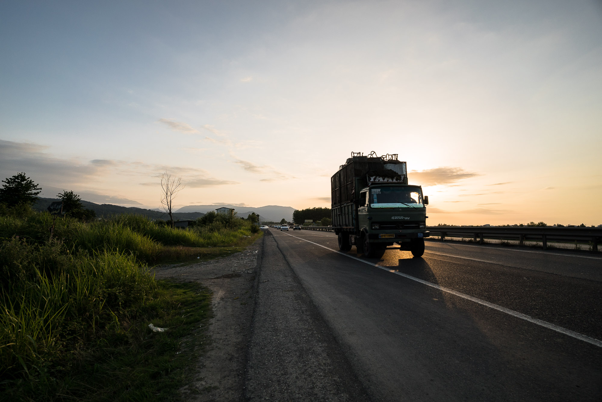 truck in the sunset