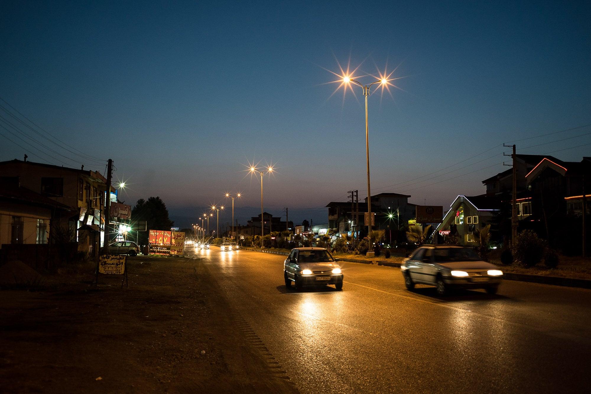 road to Tonekabon at night