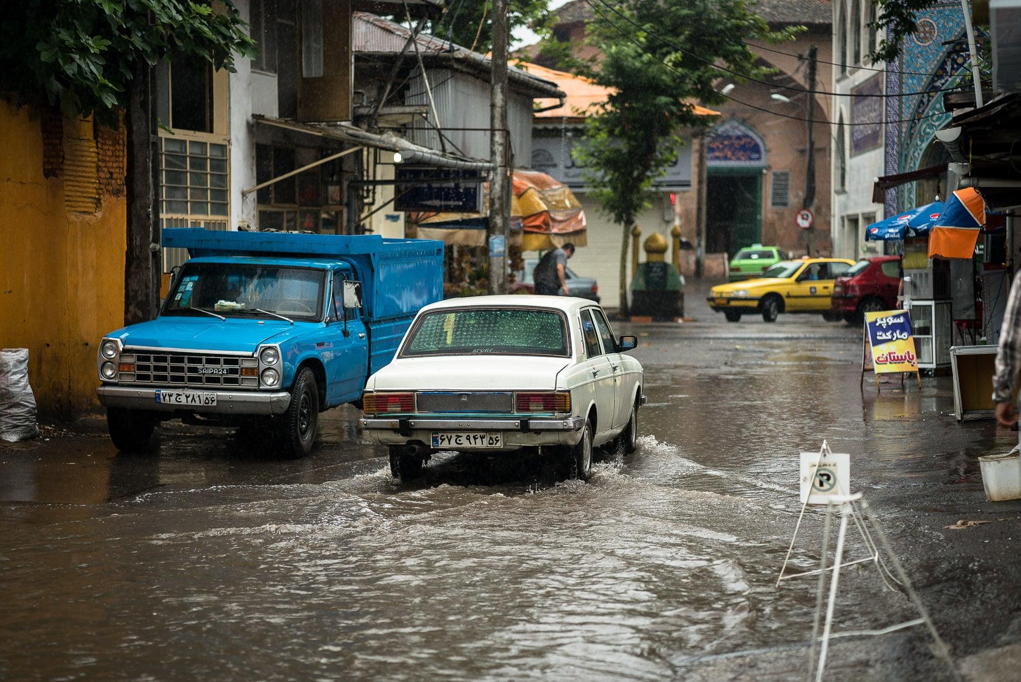 flooded street in Lahijan