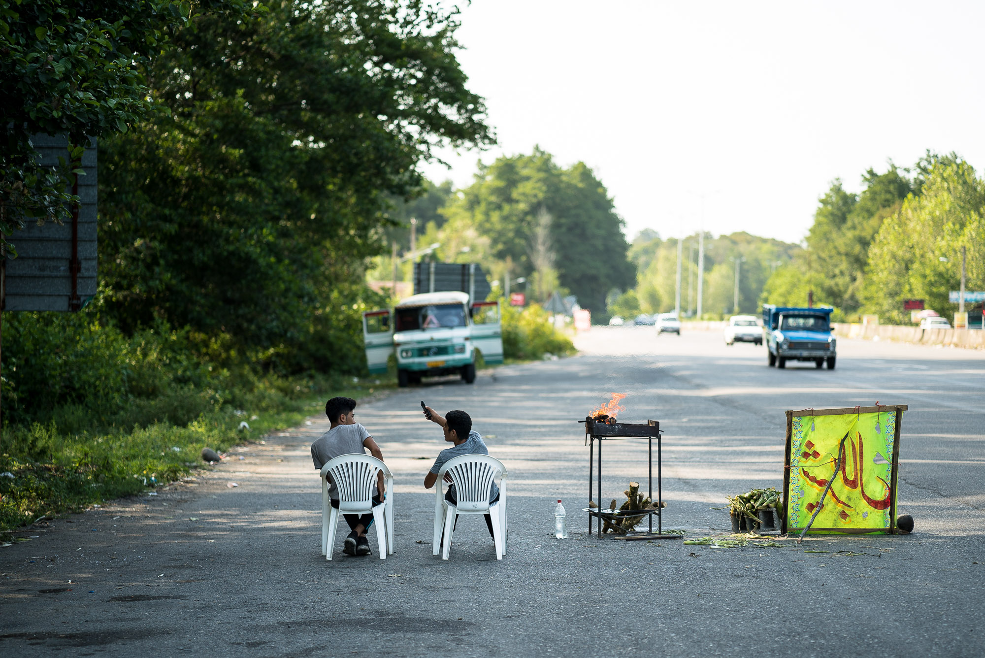 dudes selling stuff on the highway
