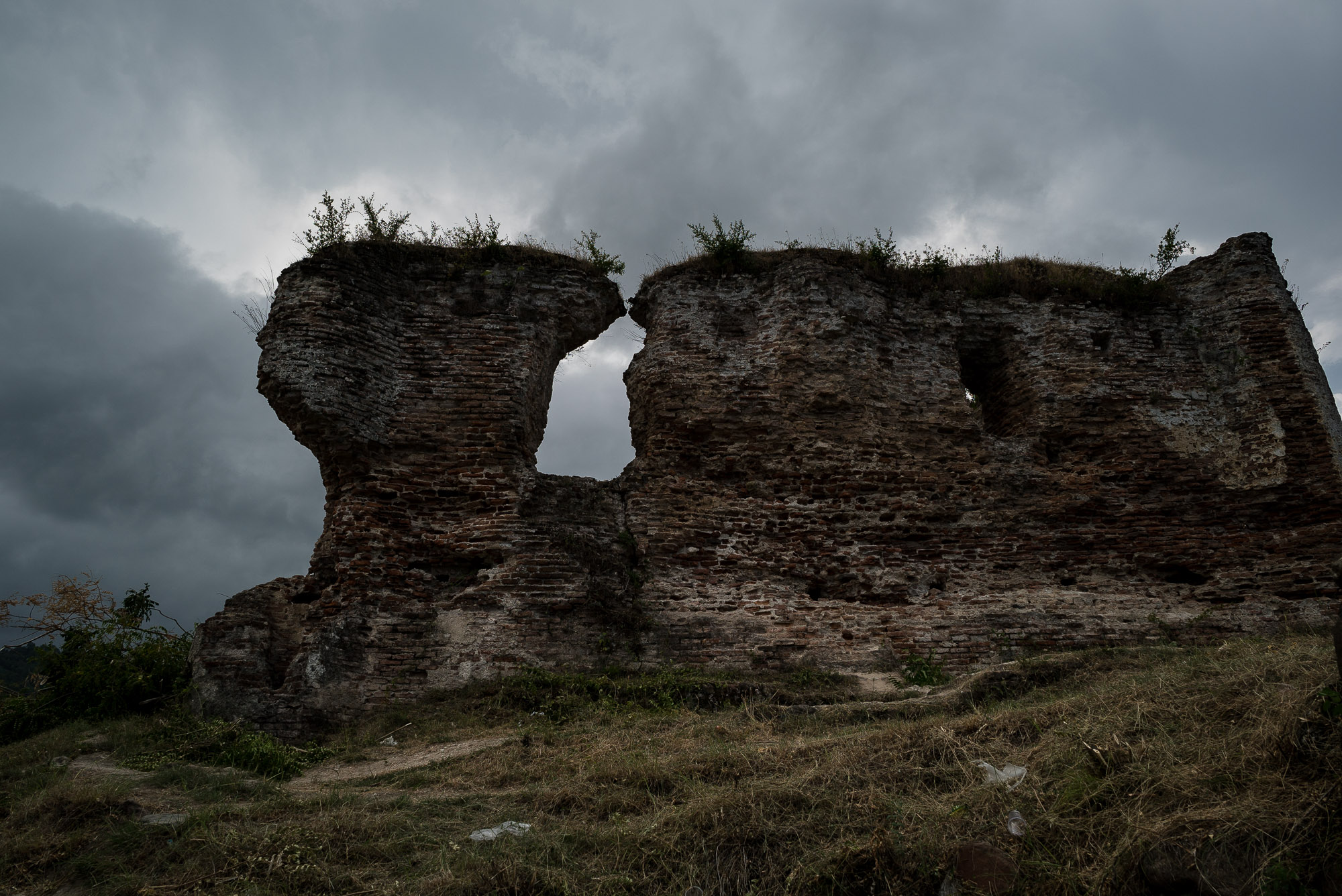 Salsaar castle ruins with storm clouds