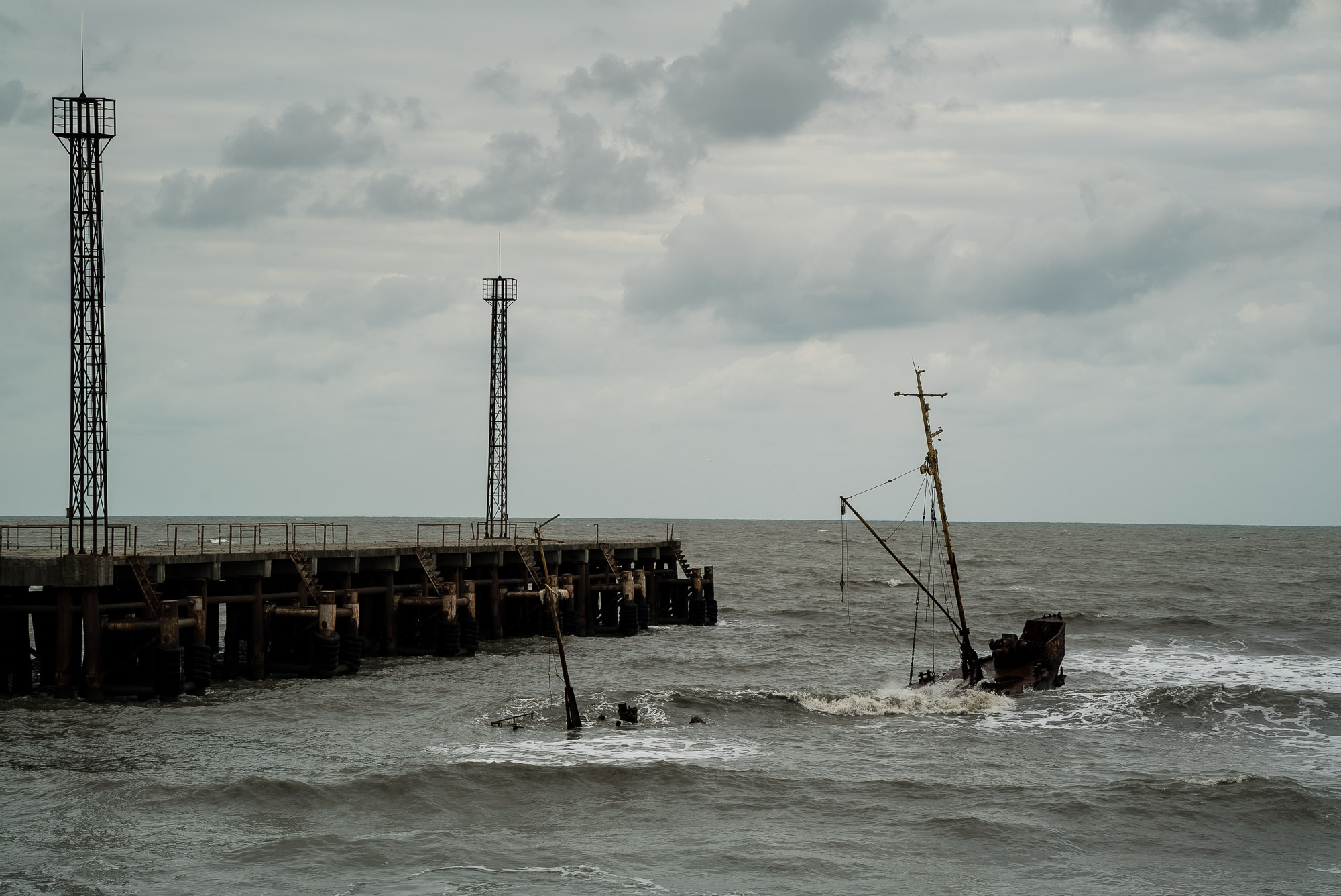 pier with shipwreck