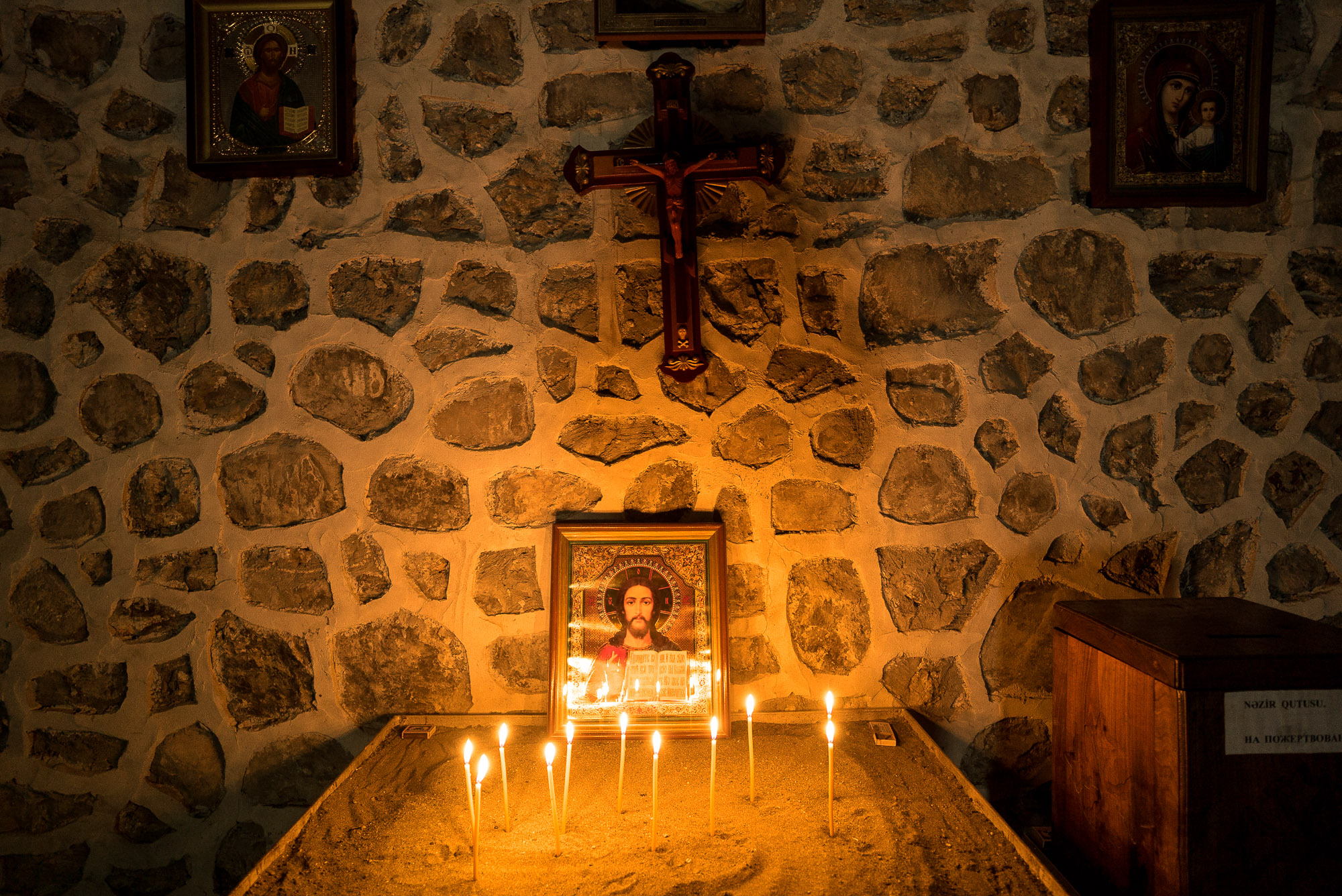 candles in the Alban-Udi Church Chotari