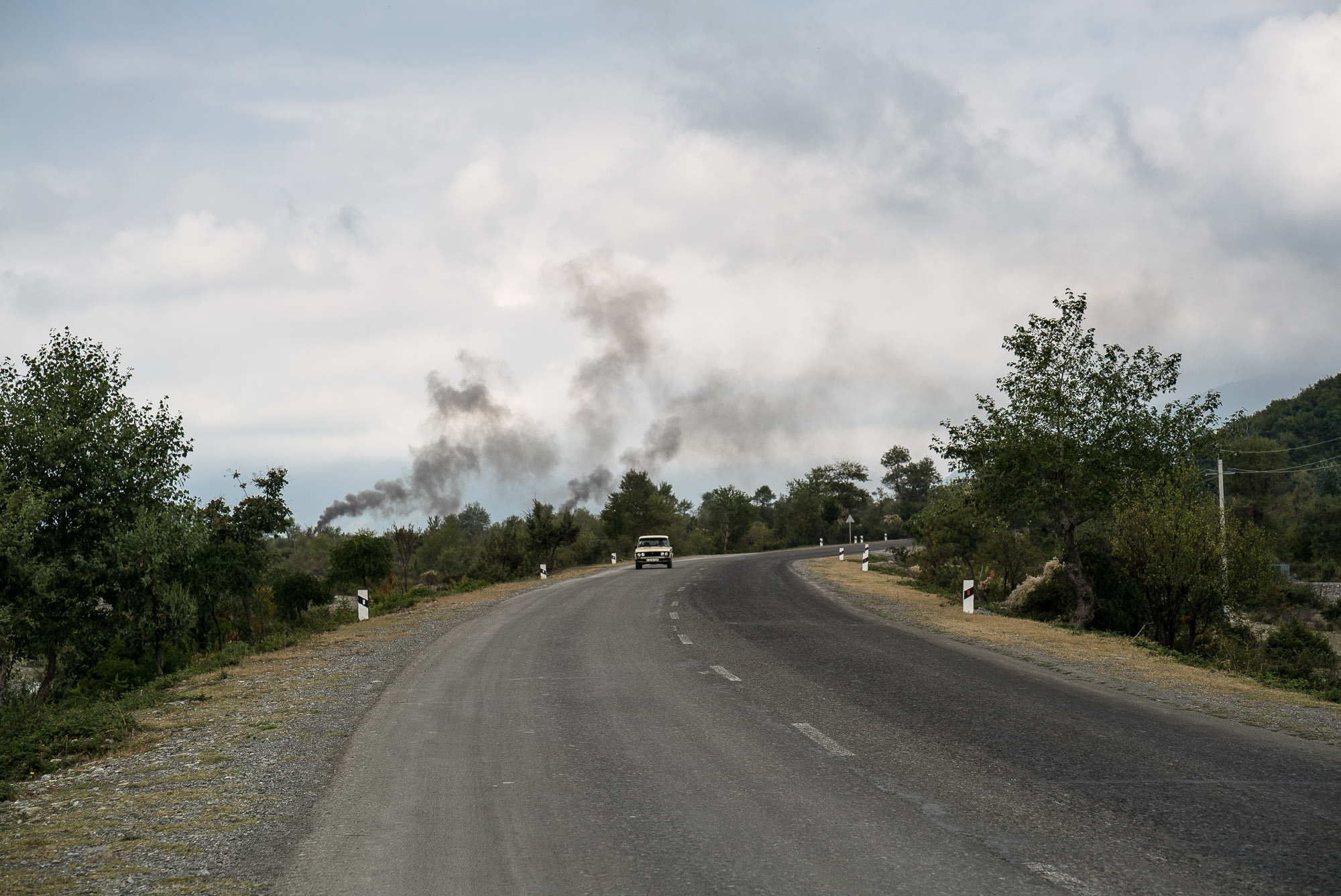 road with smoke