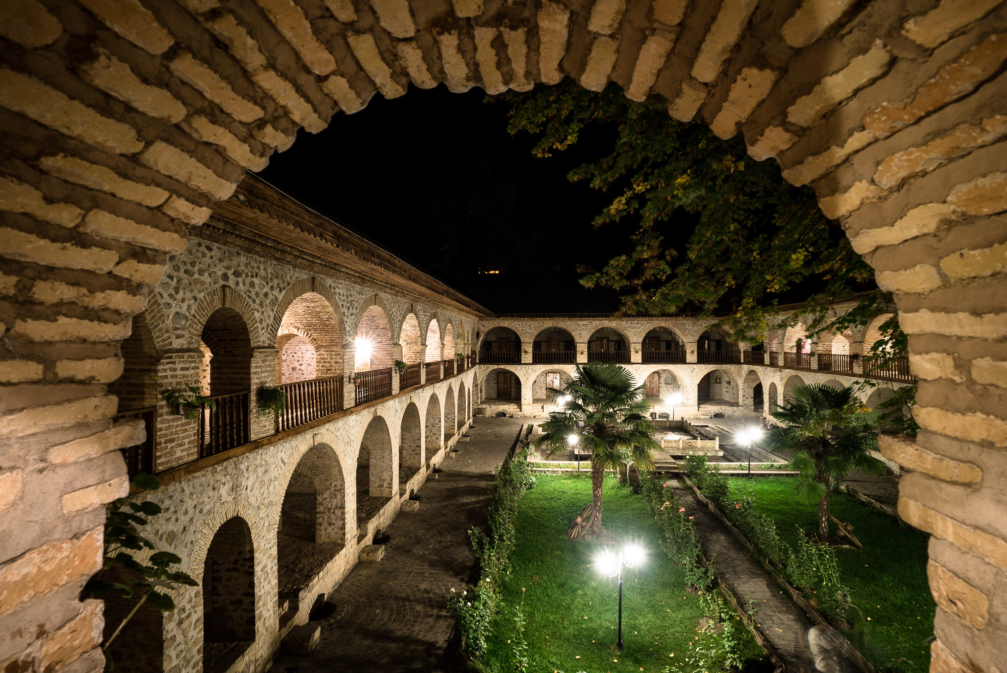 Caravanserai at night
