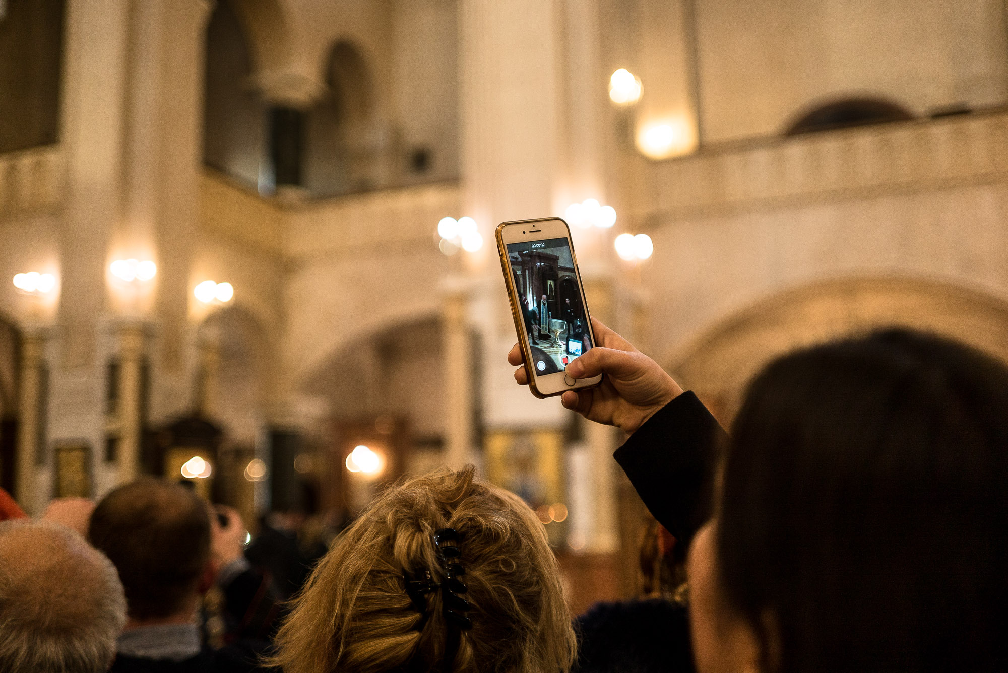 cell phone in Tbilisi cathedral