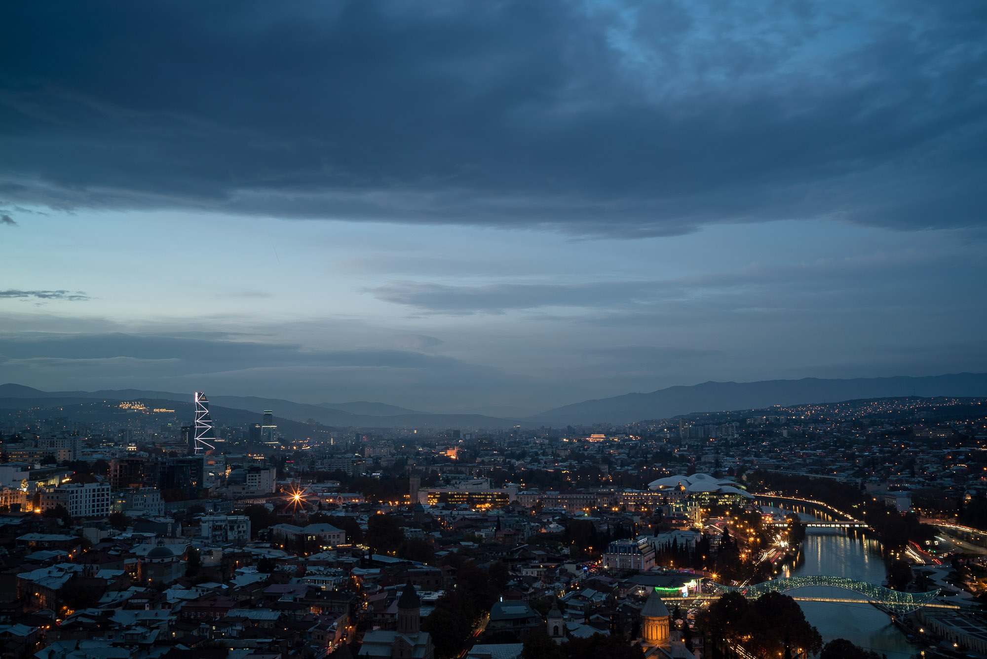 nightfall over Tbilisi