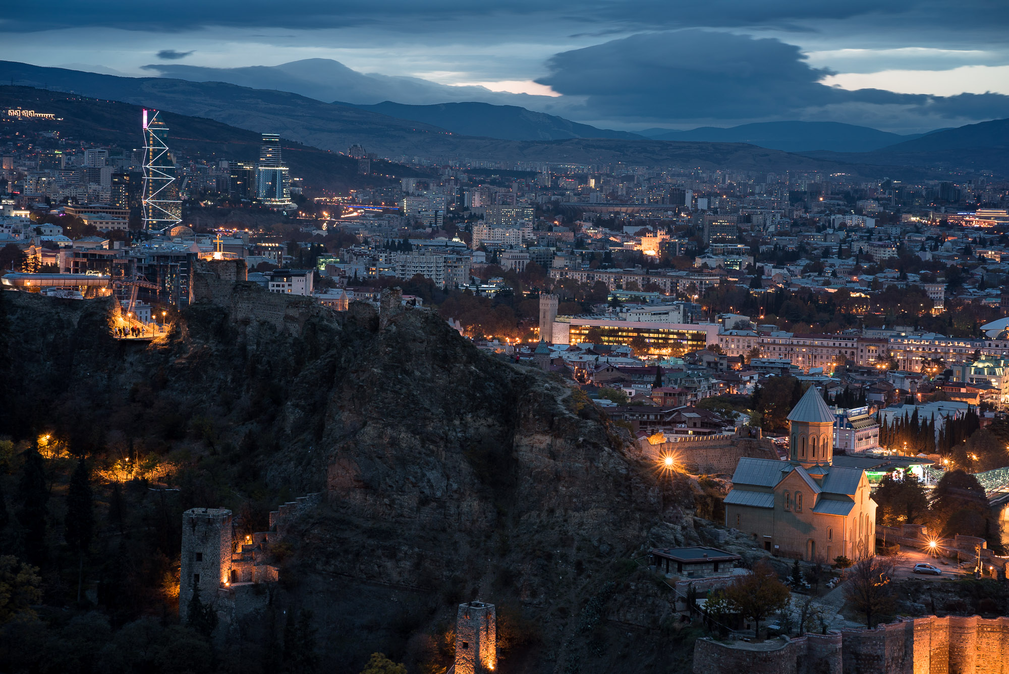 lights coming on in Tbilisi