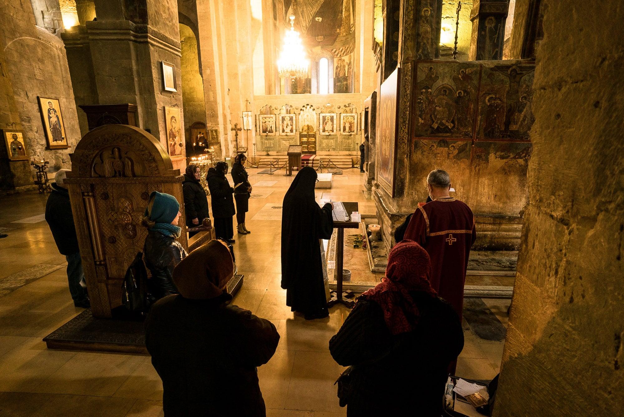 ritual in Mtskheta Cathedral